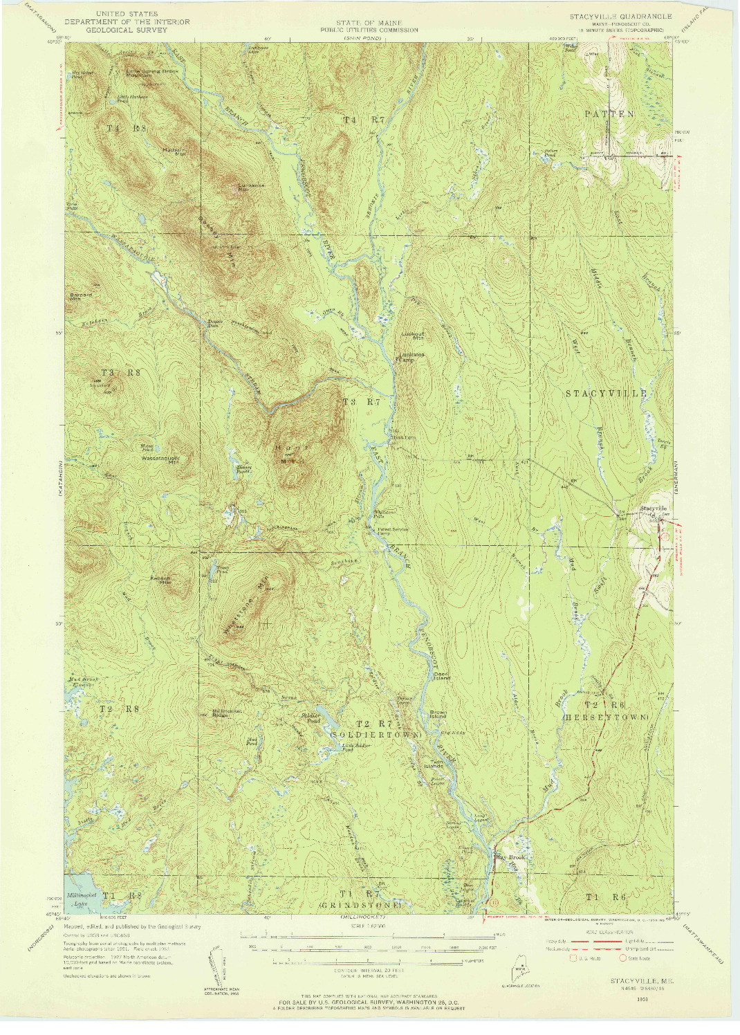 USGS 1:62500-SCALE QUADRANGLE FOR STACYVILLE, ME 1953