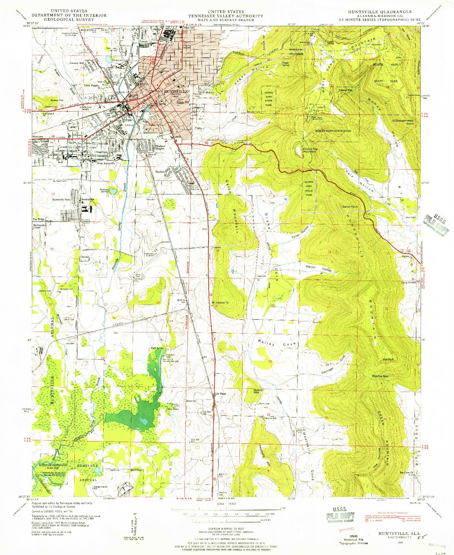 USGS 1:24000-SCALE QUADRANGLE FOR HUNTSVILLE, AL 1948