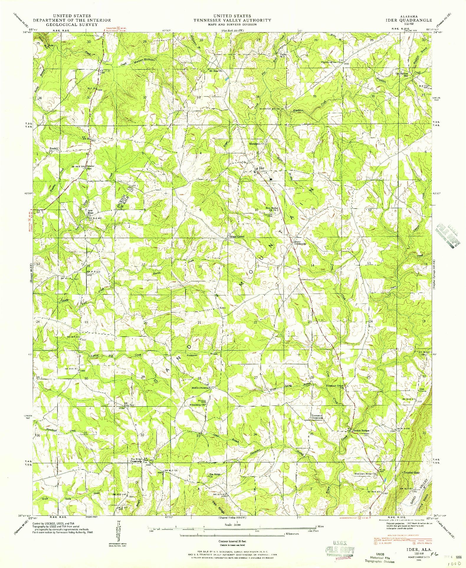 USGS 1:24000-SCALE QUADRANGLE FOR IDER, AL 1946