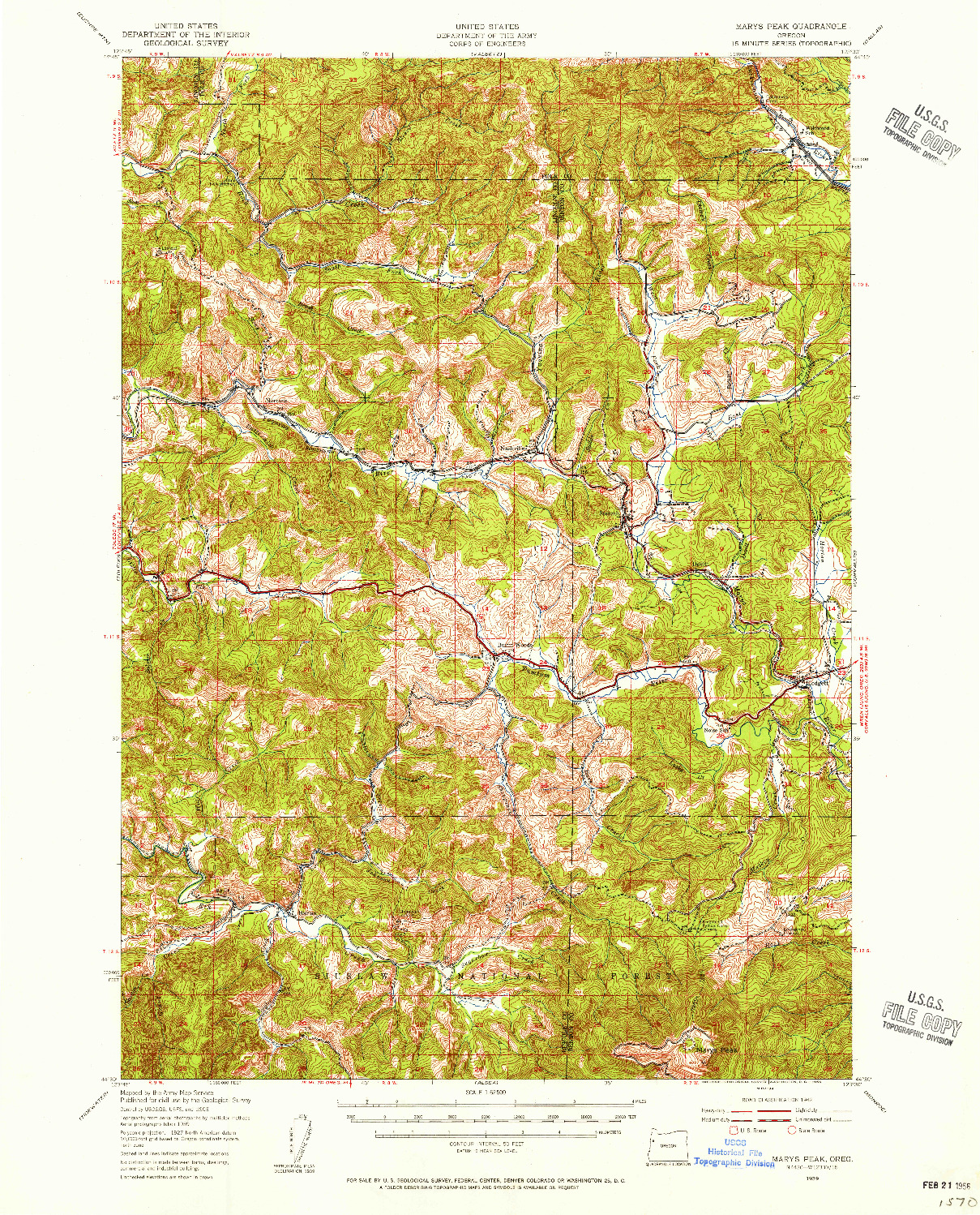 USGS 1:62500-SCALE QUADRANGLE FOR MARYS PEAK, OR 1939