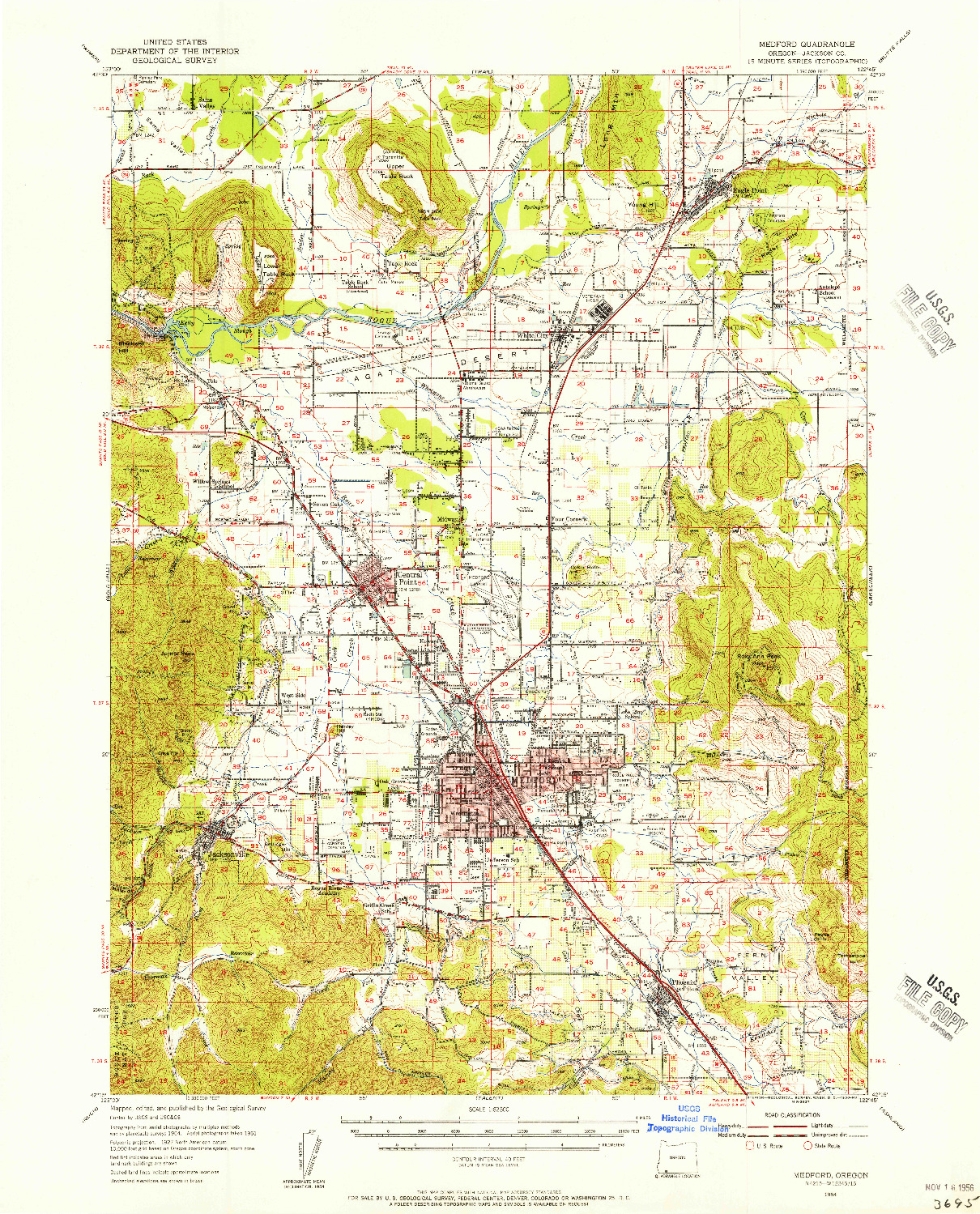 USGS 1:62500-SCALE QUADRANGLE FOR MEDFORD, OR 1954