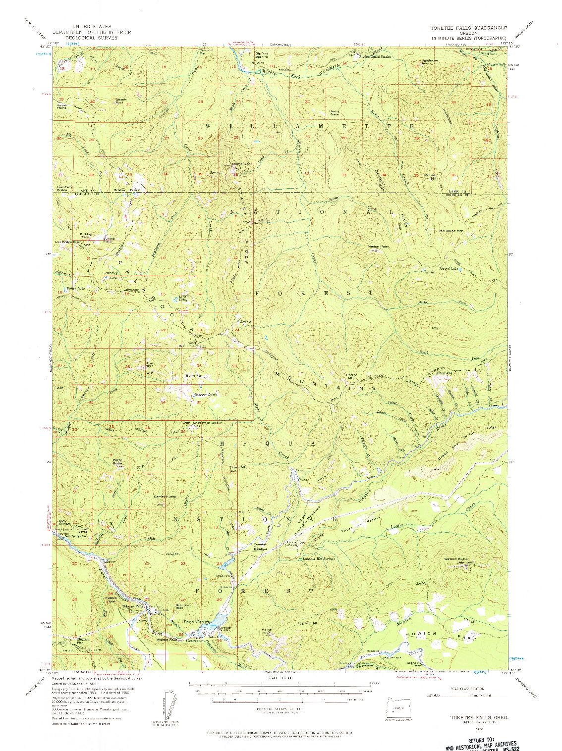 USGS 1:62500-SCALE QUADRANGLE FOR TOKETEE FALLS, OR 1956
