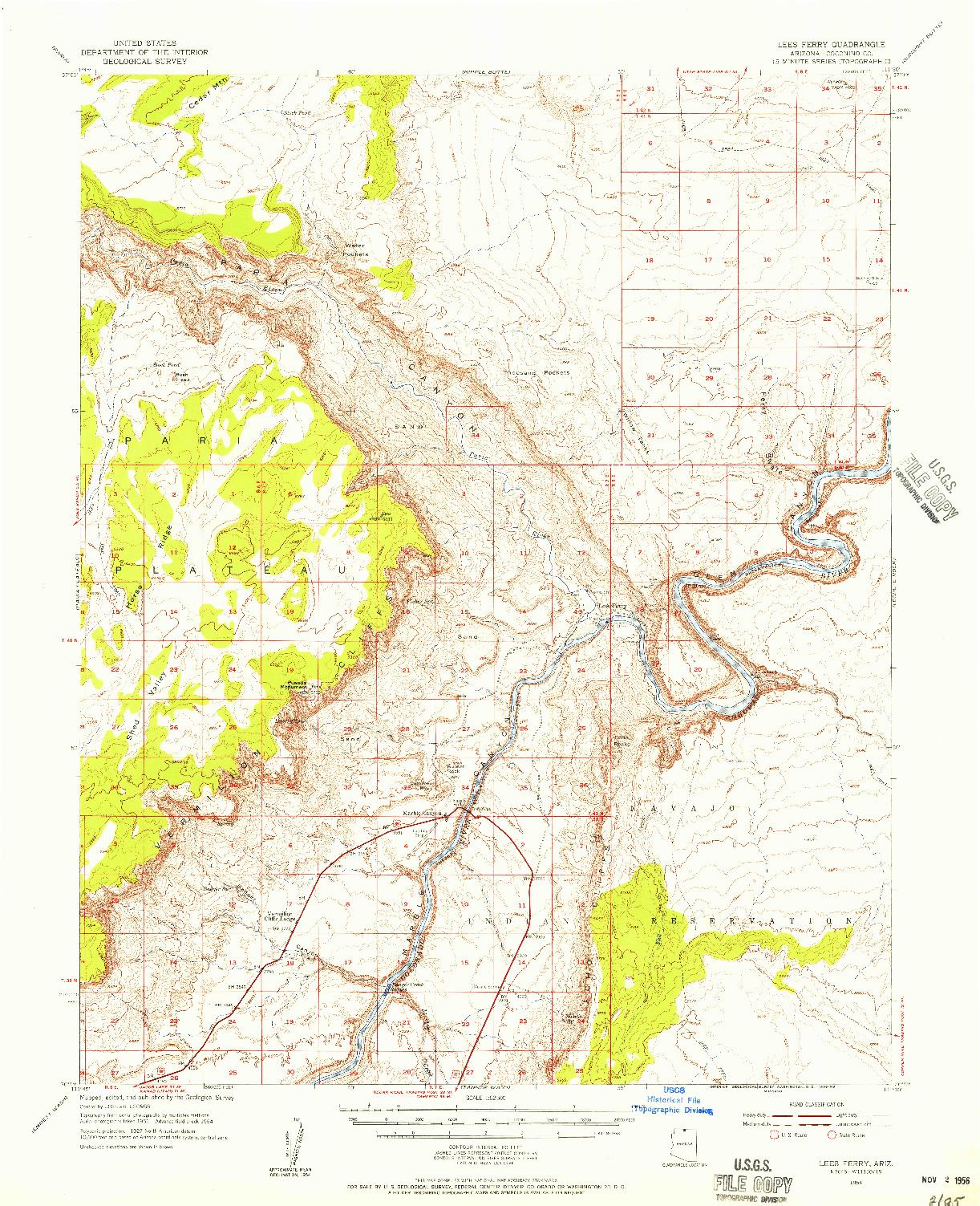 USGS 1:62500-SCALE QUADRANGLE FOR LEES FERRY, AZ 1954
