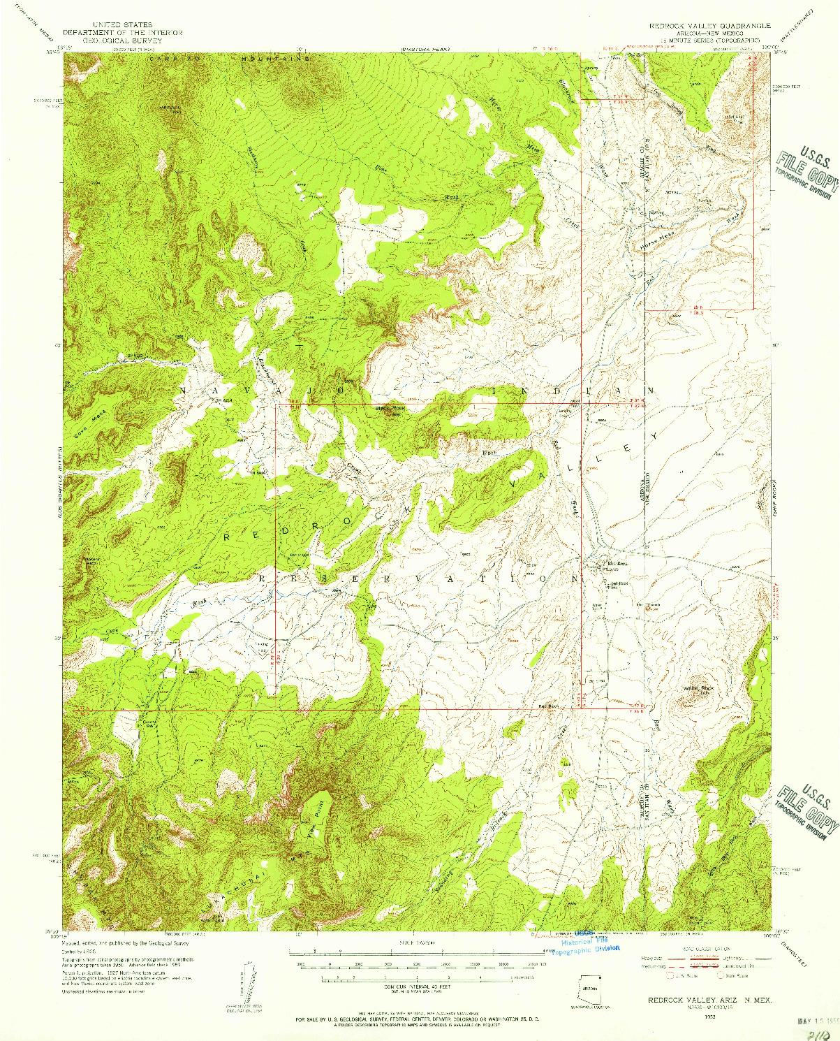 USGS 1:62500-SCALE QUADRANGLE FOR REDROCK VALLEY, AZ 1953