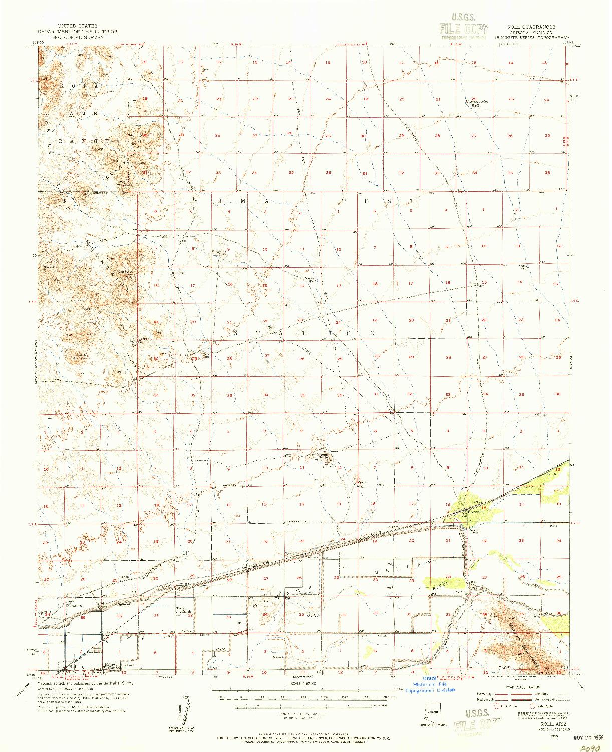 USGS 1:62500-SCALE QUADRANGLE FOR ROLL, AZ 1955