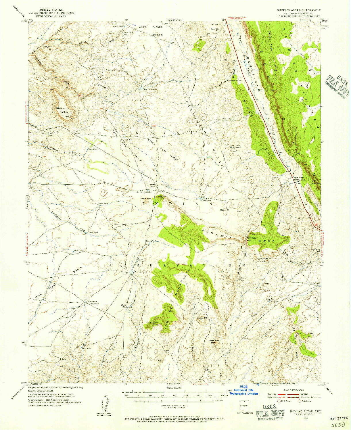 USGS 1:62500-SCALE QUADRANGLE FOR SHINUMO ALTAR, AZ 1954