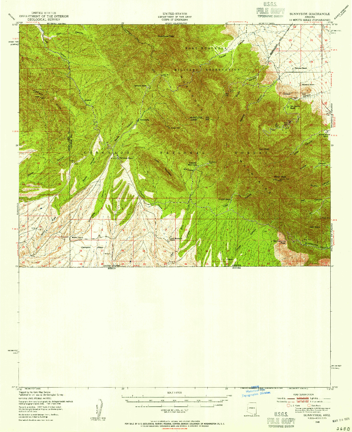 USGS 1:62500-SCALE QUADRANGLE FOR SUNNYSIDE, AZ 1948