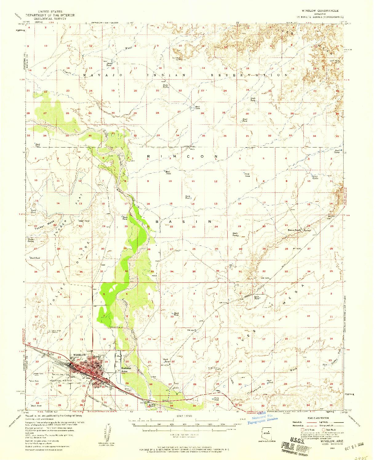 USGS 1:62500-SCALE QUADRANGLE FOR WINSLOW, AZ 1954