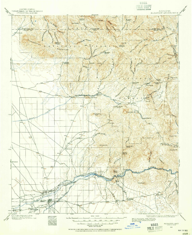 USGS 1:125000-SCALE QUADRANGLE FOR FLORENCE, AZ 1900