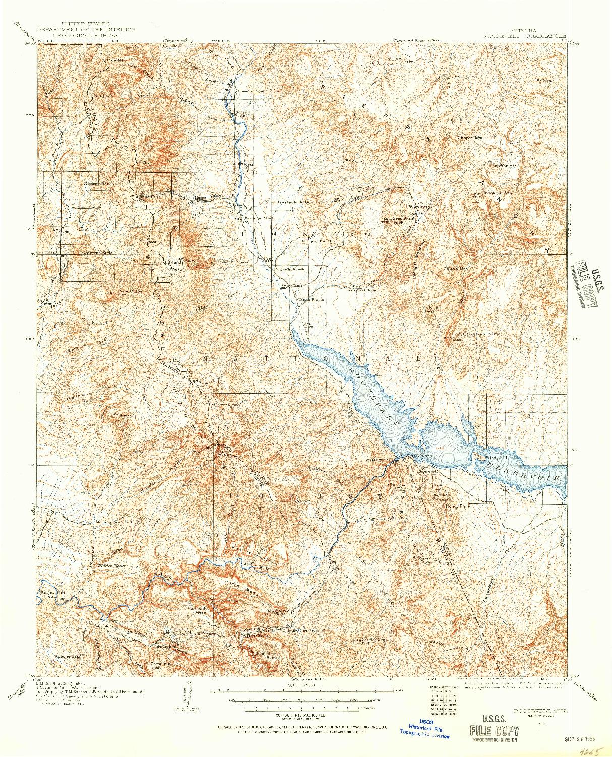 USGS 1:125000-SCALE QUADRANGLE FOR ROOSEVELT, AZ 1907