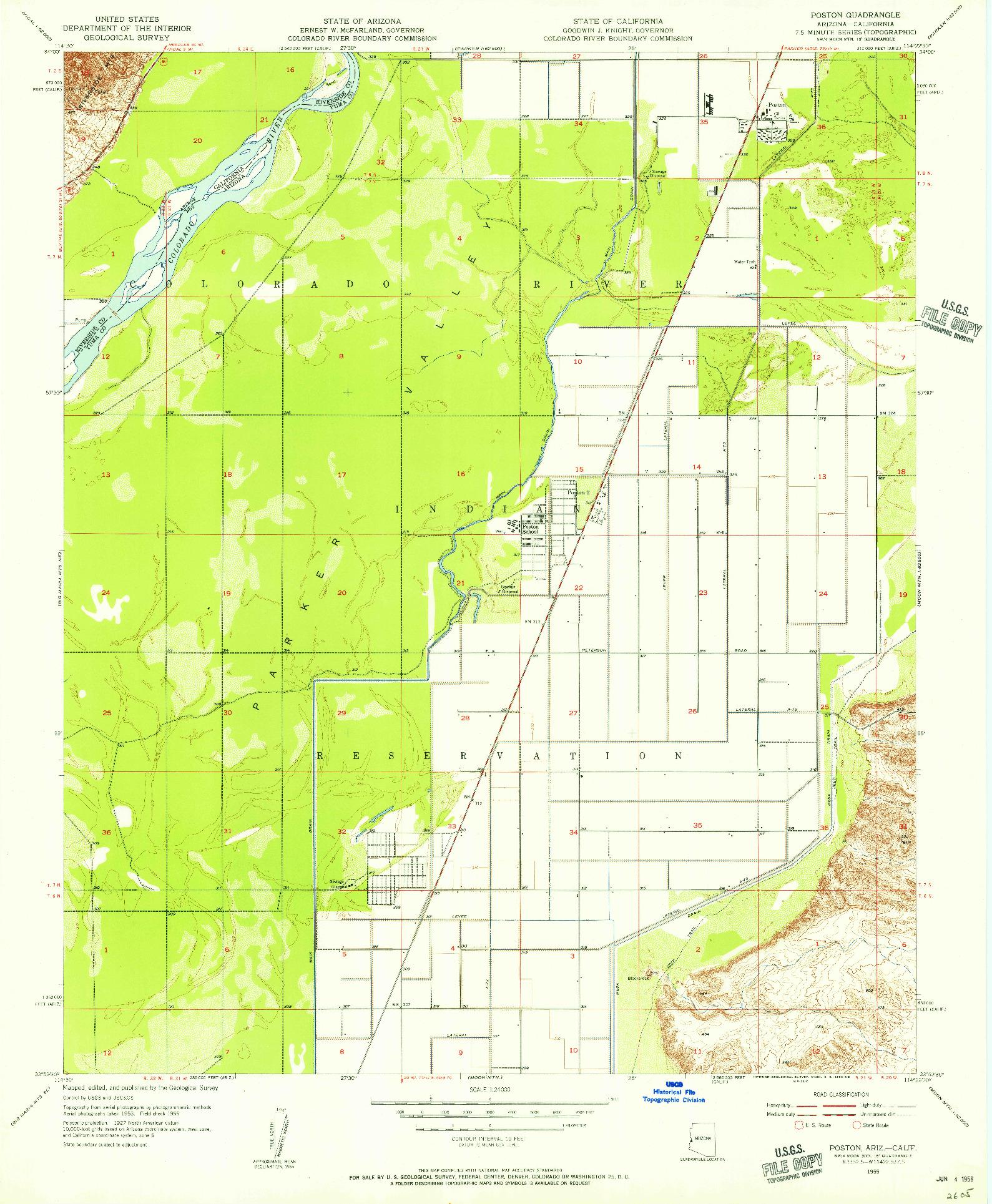 USGS 1:24000-SCALE QUADRANGLE FOR POSTON, AZ 1955
