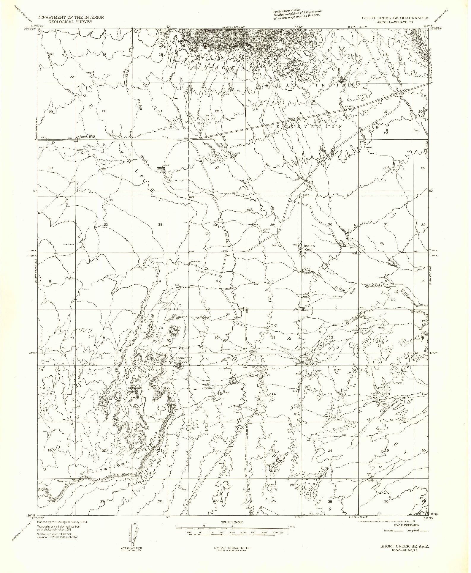 USGS 1:24000-SCALE QUADRANGLE FOR SHORT CREEK SE, AZ 1954