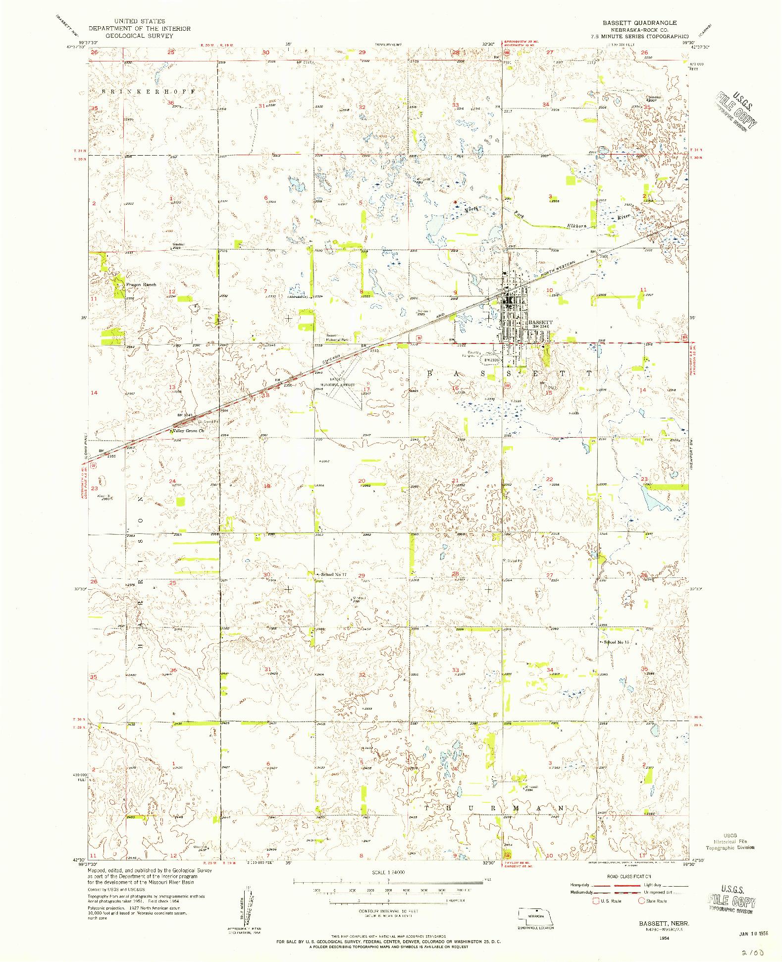 USGS 1:24000-SCALE QUADRANGLE FOR BASSETT, NE 1954