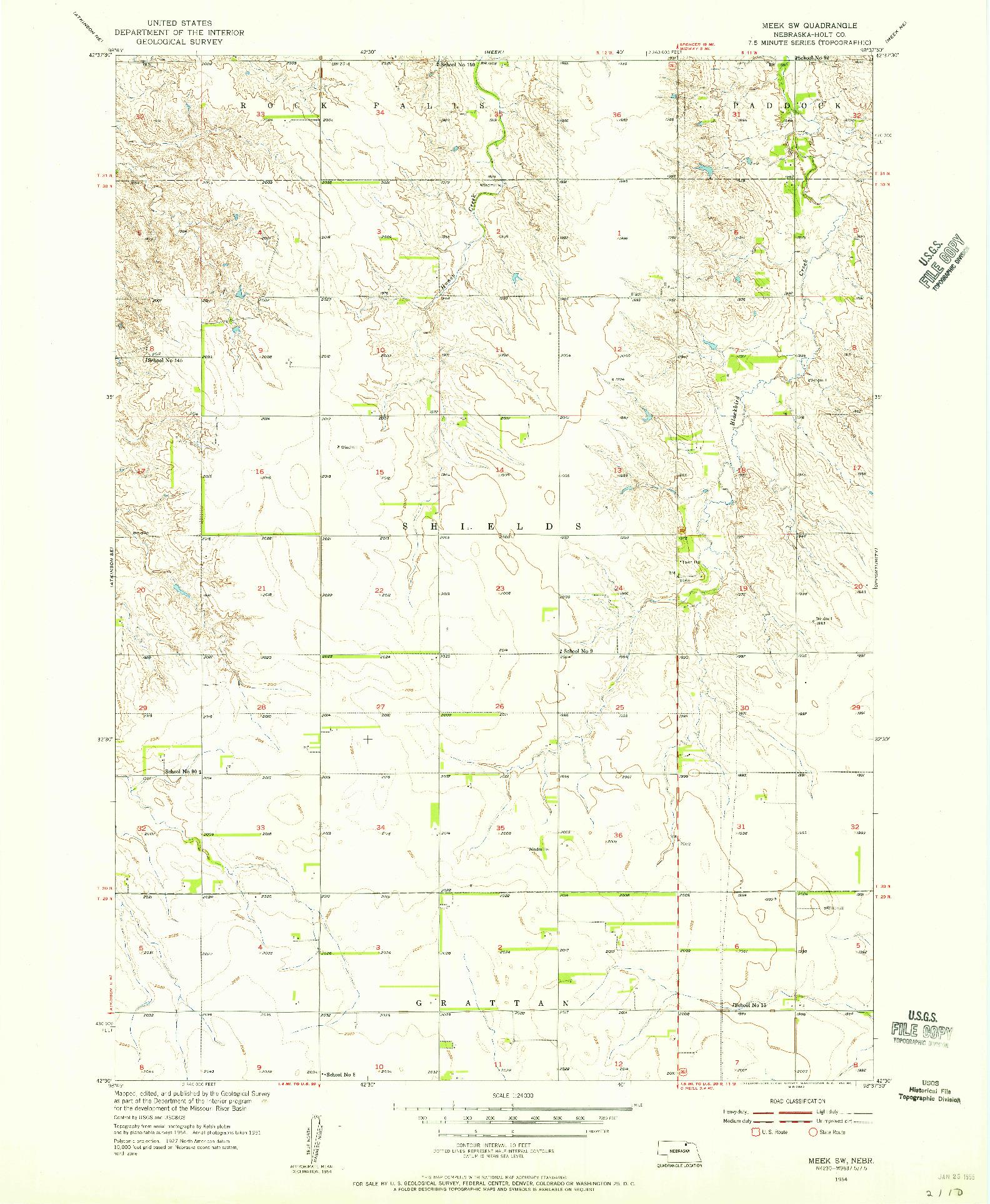 USGS 1:24000-SCALE QUADRANGLE FOR MEEK SW, NE 1954