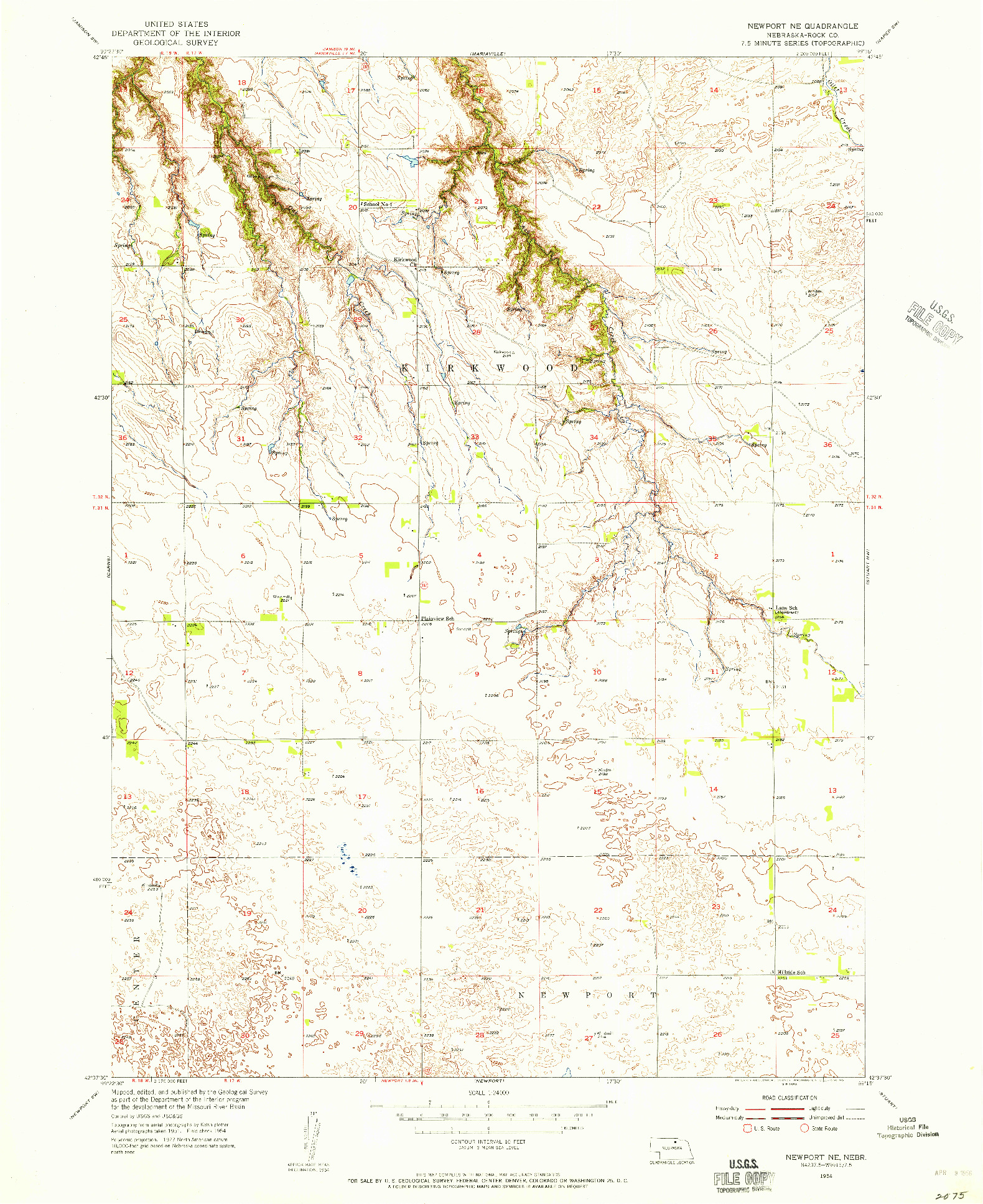 USGS 1:24000-SCALE QUADRANGLE FOR NEWPORT NE, NE 1954