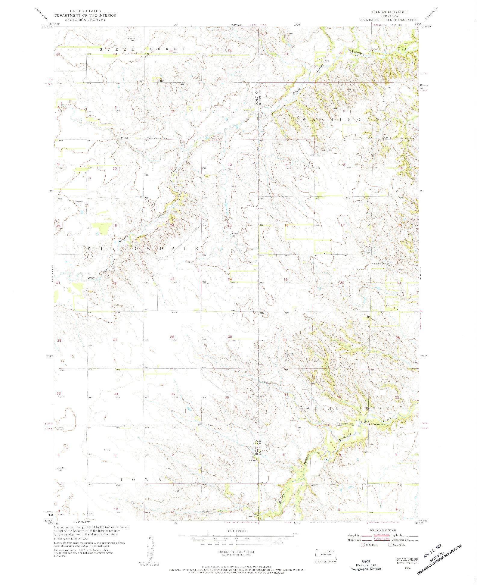 USGS 1:24000-SCALE QUADRANGLE FOR STAR, NE 1954