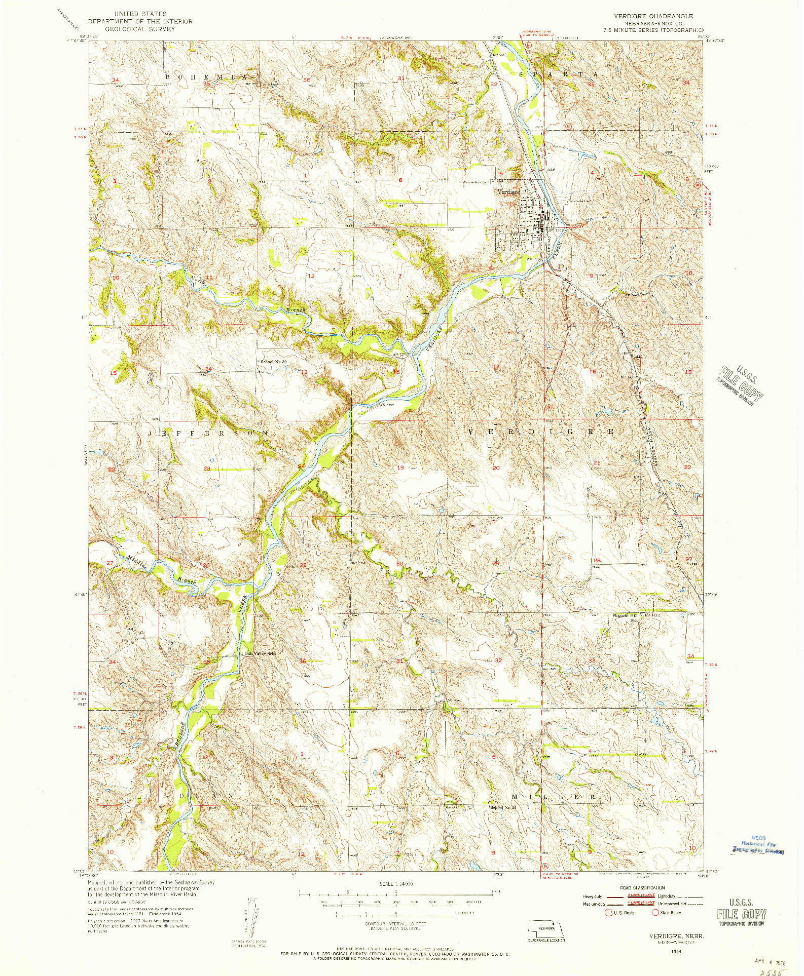 USGS 1:24000-SCALE QUADRANGLE FOR VERDIGRE, NE 1954