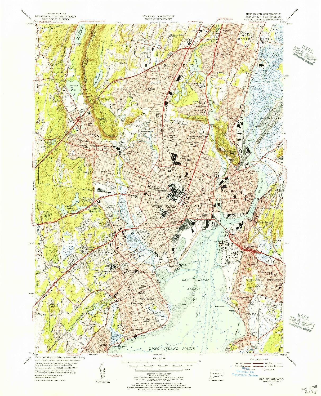 USGS 1:31680-SCALE QUADRANGLE FOR NEW HAVEN, CT 1954