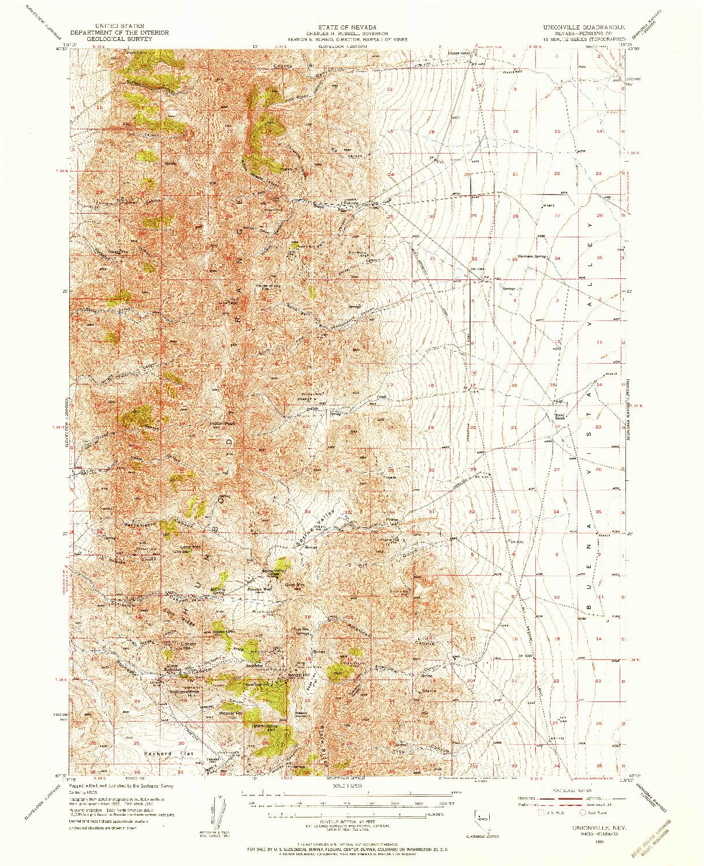 USGS 1:62500-SCALE QUADRANGLE FOR UNIONVILLE, NV 1954