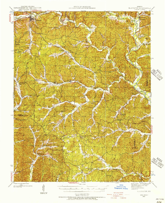 USGS 1:62500-SCALE QUADRANGLE FOR ELLINGTON, MO 1943