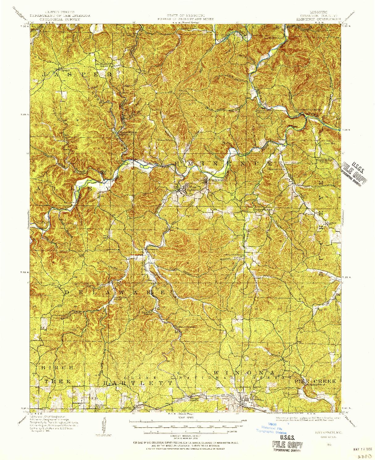 USGS 1:62500-SCALE QUADRANGLE FOR EMINENCE, MO 1915