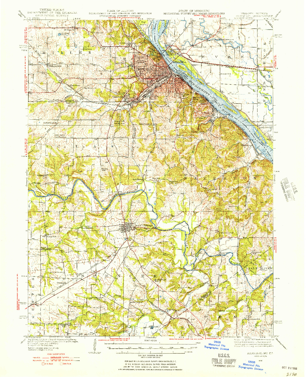 USGS 1:62500-SCALE QUADRANGLE FOR HANNIBAL, MO 1936