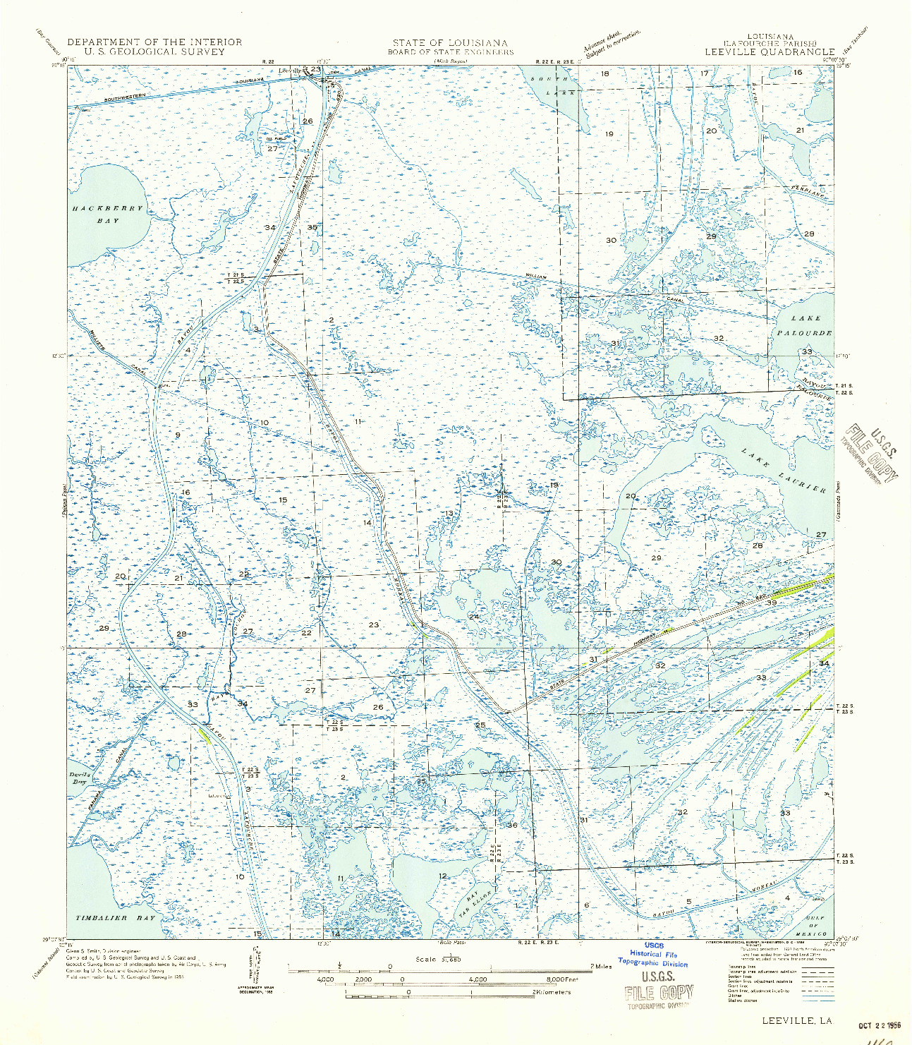USGS 1:31680-SCALE QUADRANGLE FOR LEEVILLE, LA 1956