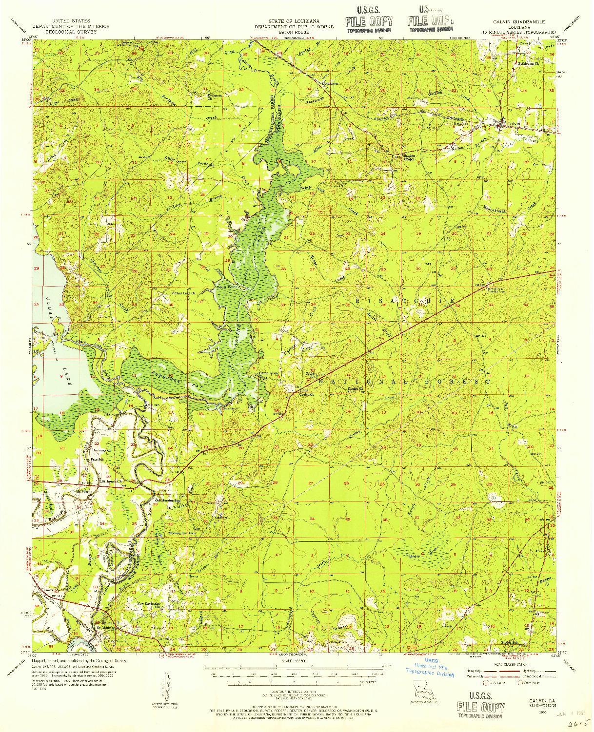 USGS 1:62500-SCALE QUADRANGLE FOR CALVIN, LA 1955