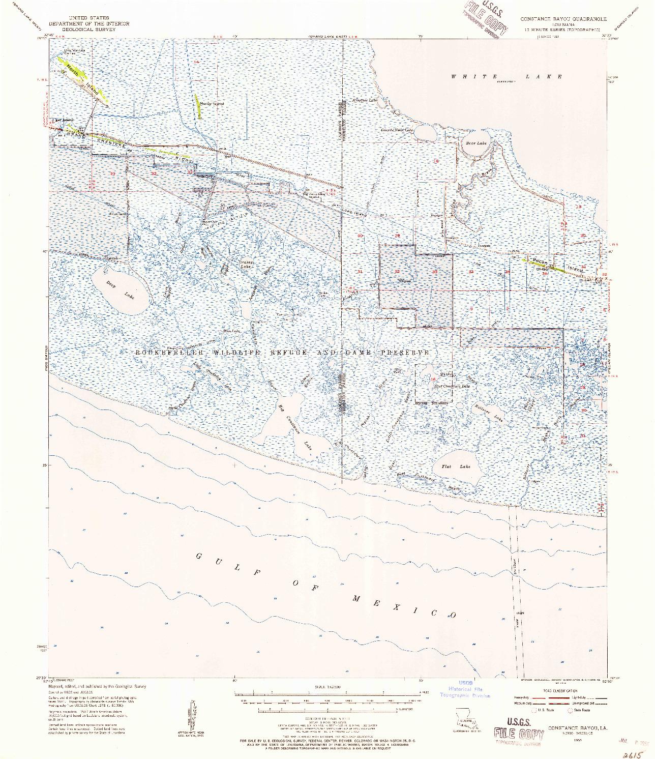 USGS 1:62500-SCALE QUADRANGLE FOR CONSTANCE BAYOU, LA 1955