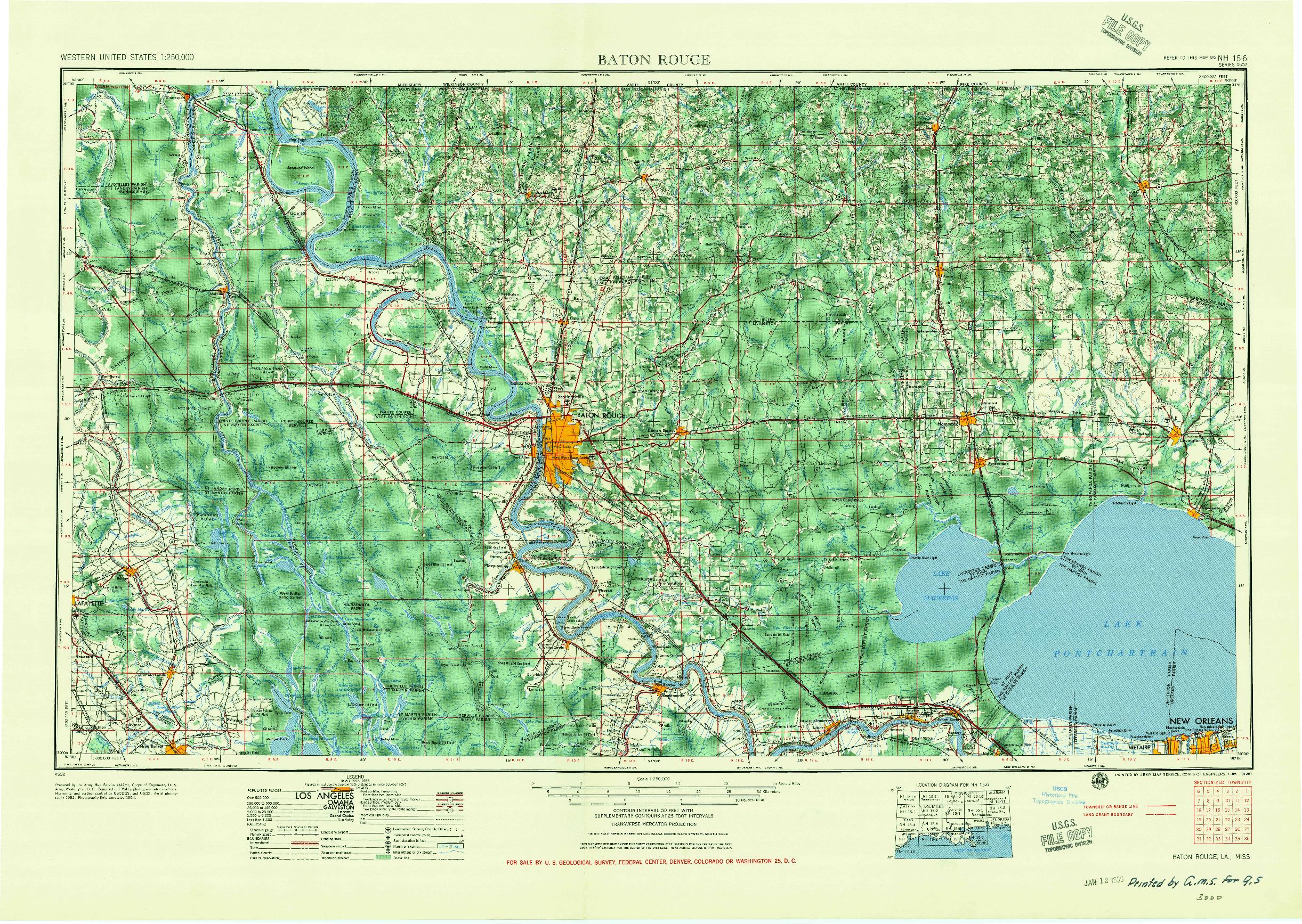 USGS 1:250000-SCALE QUADRANGLE FOR BATON ROUGE, LA 1956