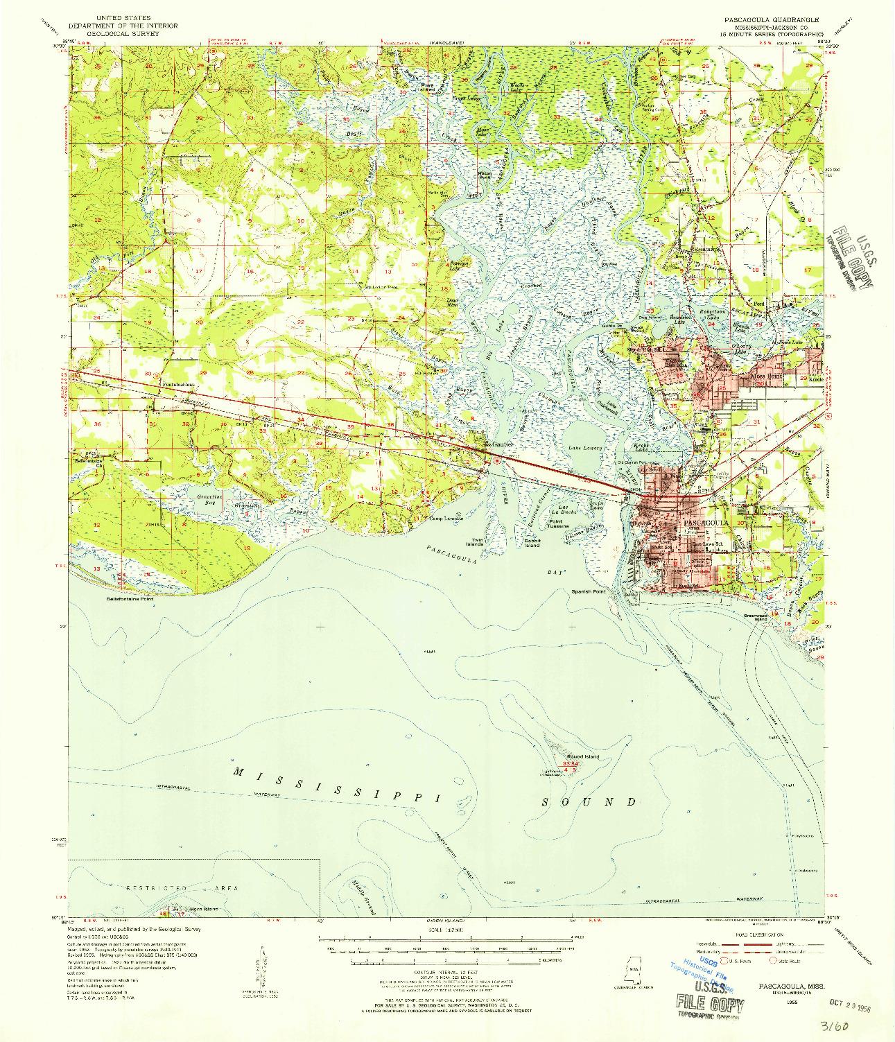 USGS 1:62500-SCALE QUADRANGLE FOR PASCAGOULA, MS 1955
