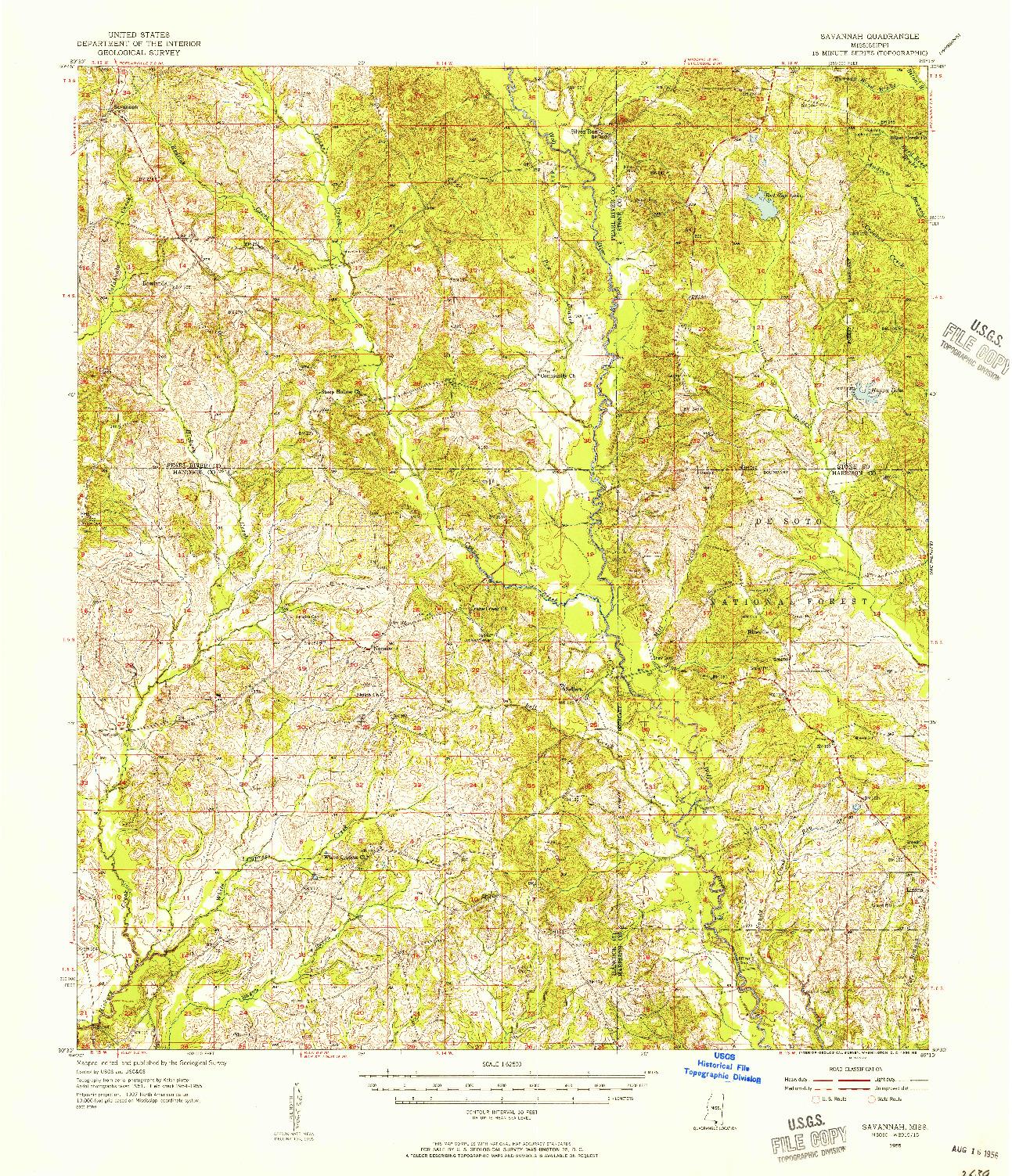 USGS 1:62500-SCALE QUADRANGLE FOR SAVANNAH, MS 1955