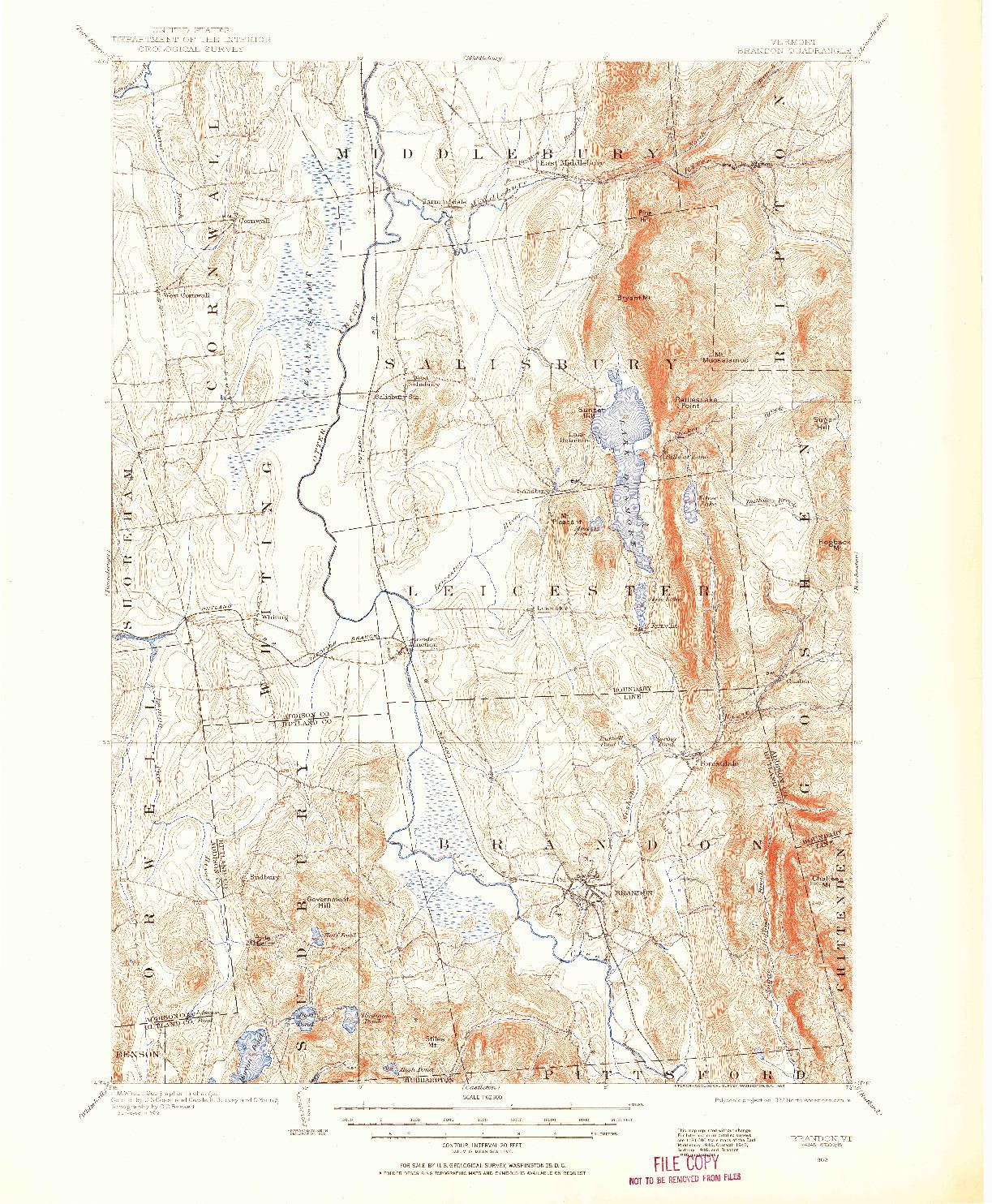 USGS 1:62500-SCALE QUADRANGLE FOR BRANDON, VT 1902