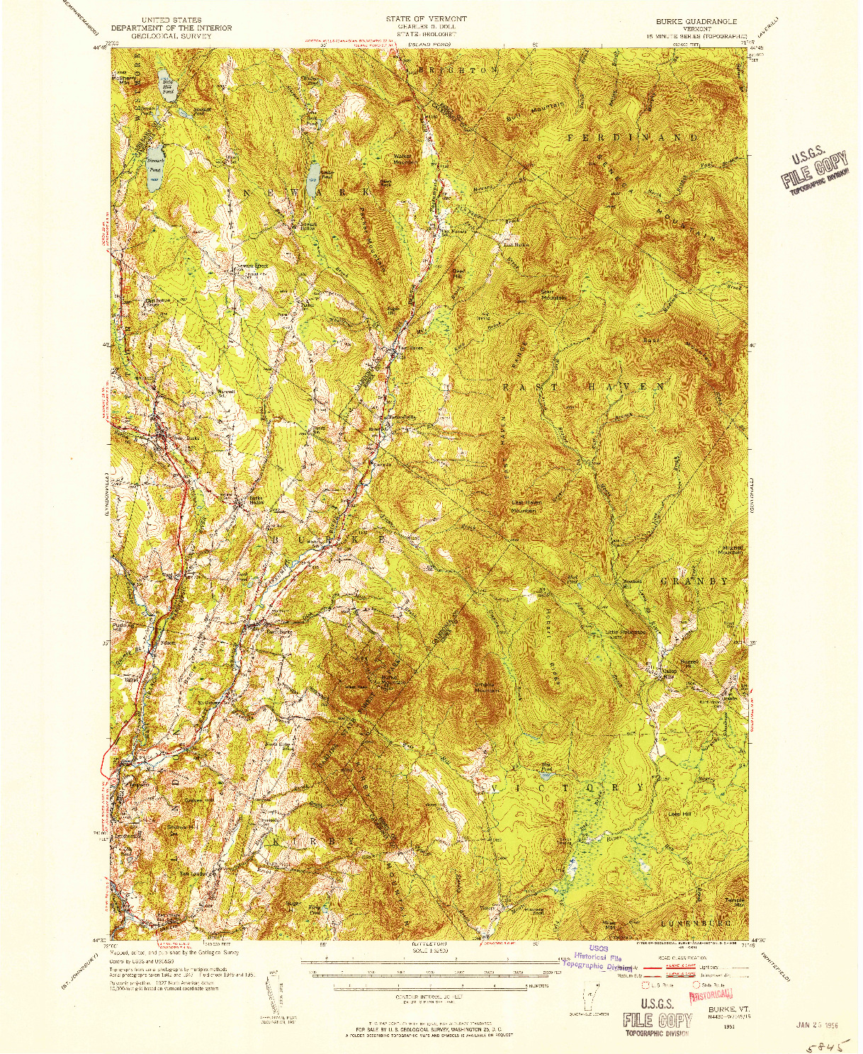 USGS 1:62500-SCALE QUADRANGLE FOR BURKE, VT 1951