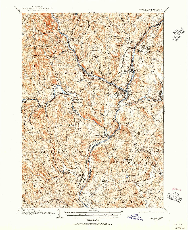 USGS 1:62500-SCALE QUADRANGLE FOR HANOVER, VT 1906