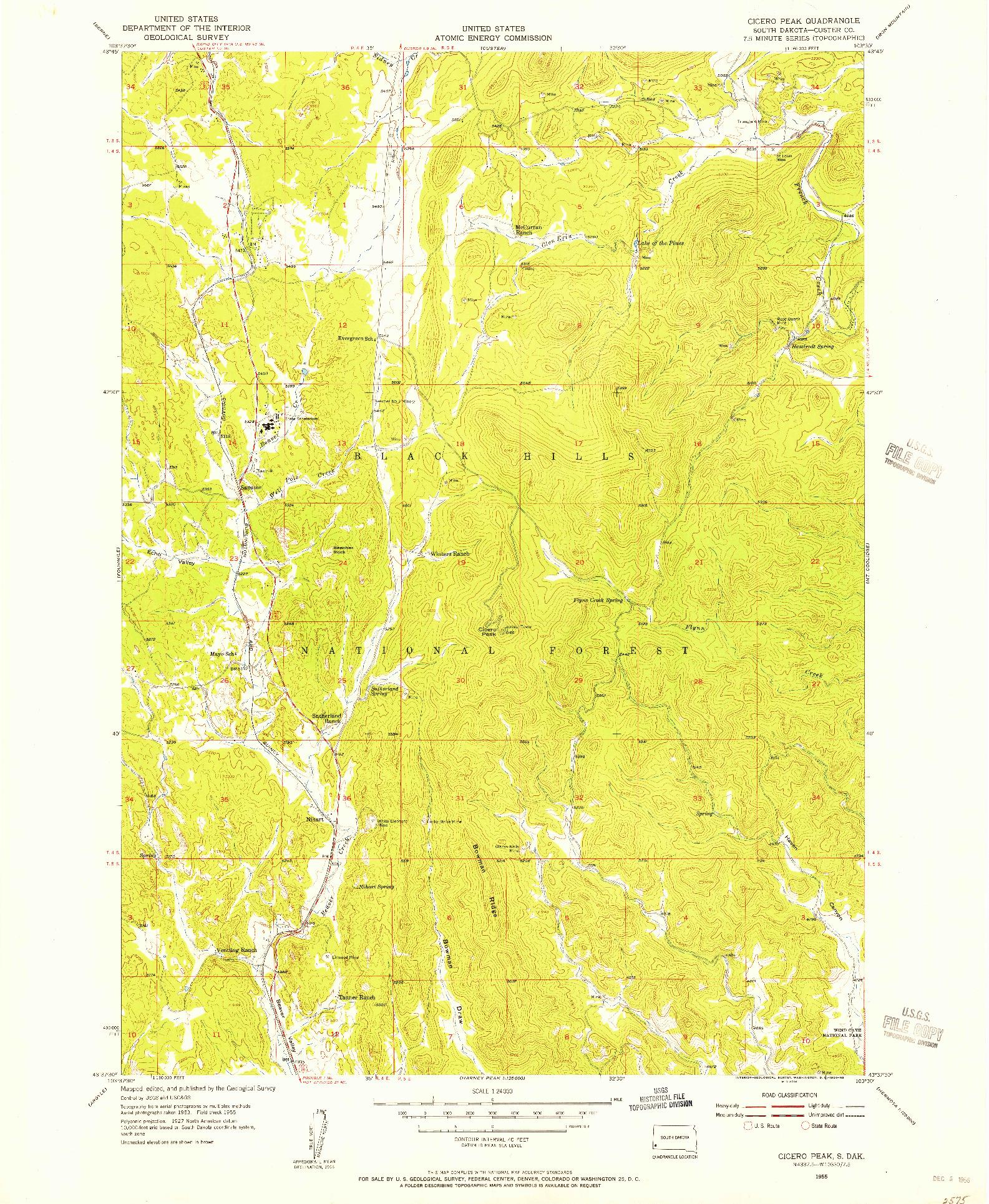 USGS 1:24000-SCALE QUADRANGLE FOR CICERO PEAK, SD 1955