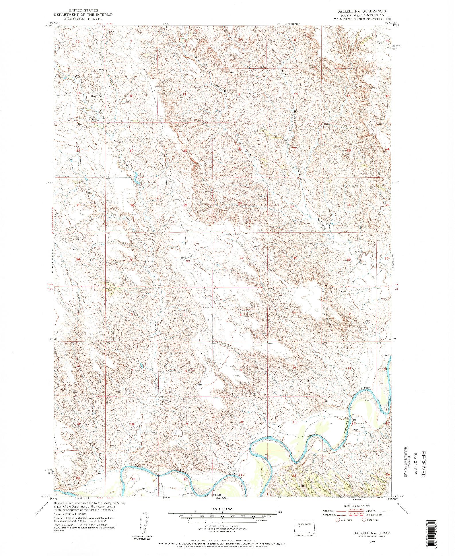 USGS 1:24000-SCALE QUADRANGLE FOR DALZELL NW, SD 1954