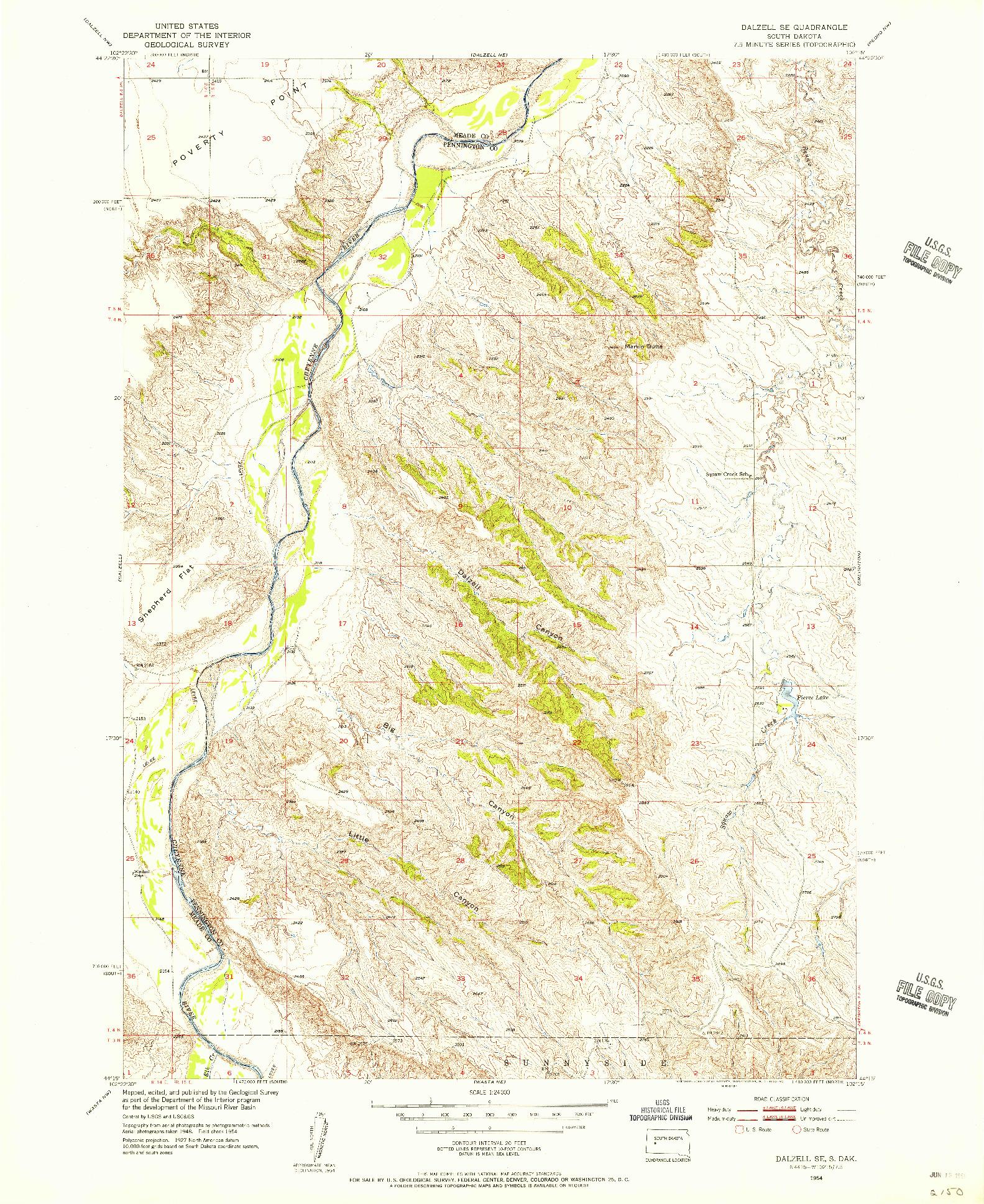 USGS 1:24000-SCALE QUADRANGLE FOR DALZELL SE, SD 1954
