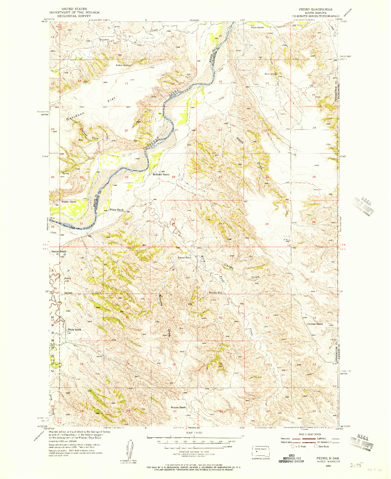 USGS 1:24000-SCALE QUADRANGLE FOR PEDRO, SD 1955