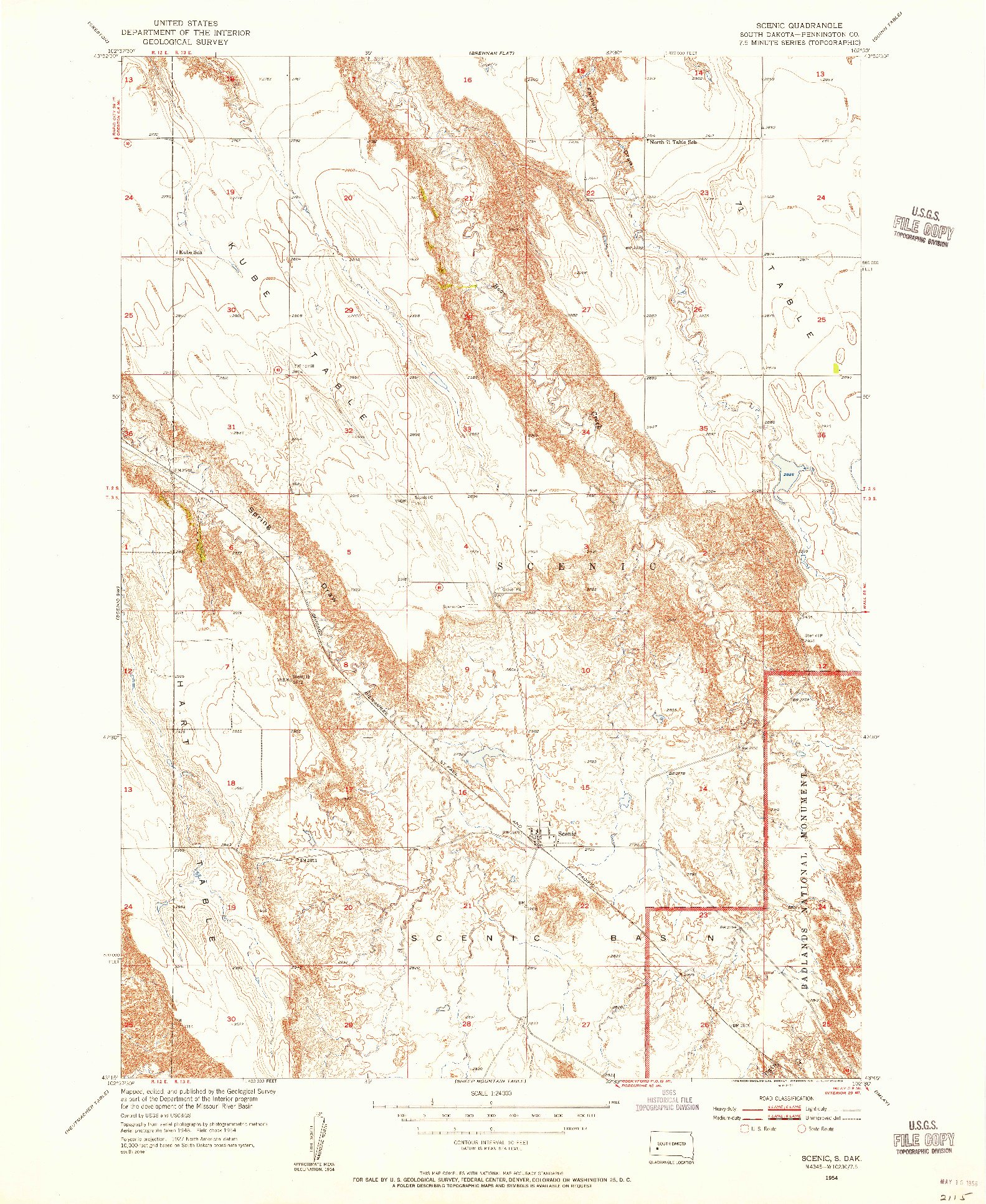 USGS 1:24000-SCALE QUADRANGLE FOR SCENIC, SD 1954