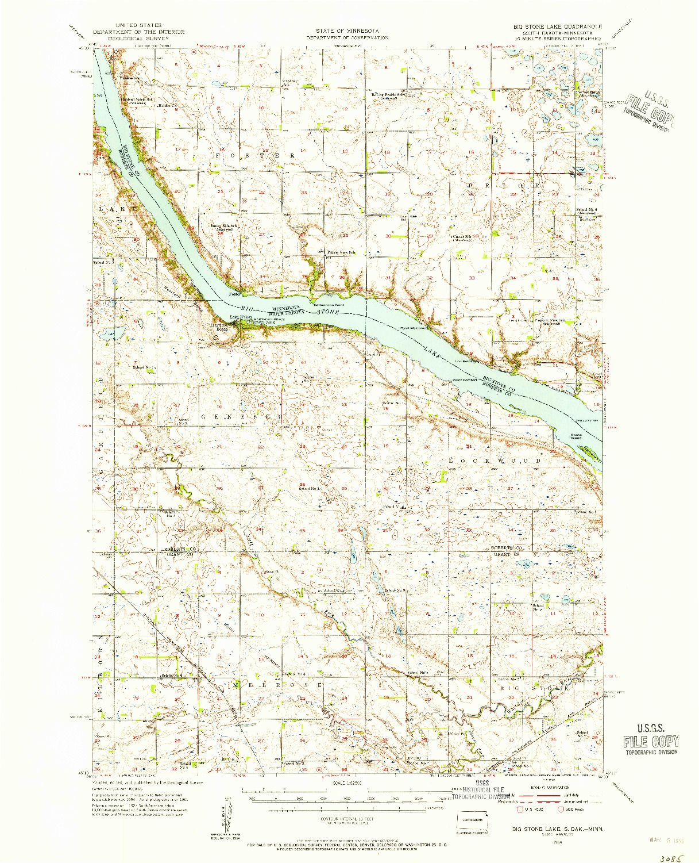 USGS 1:62500-SCALE QUADRANGLE FOR BIG STONE LAKE, SD 1954