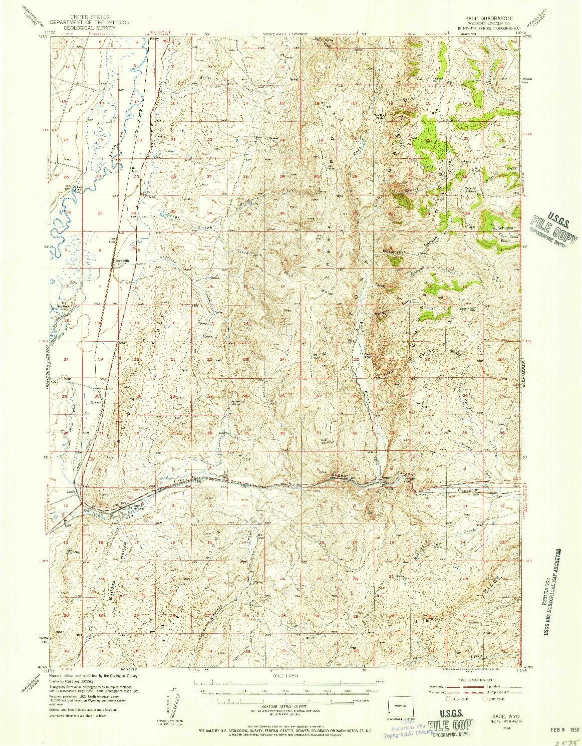 USGS 1:62500-SCALE QUADRANGLE FOR SAGE, WY 1954
