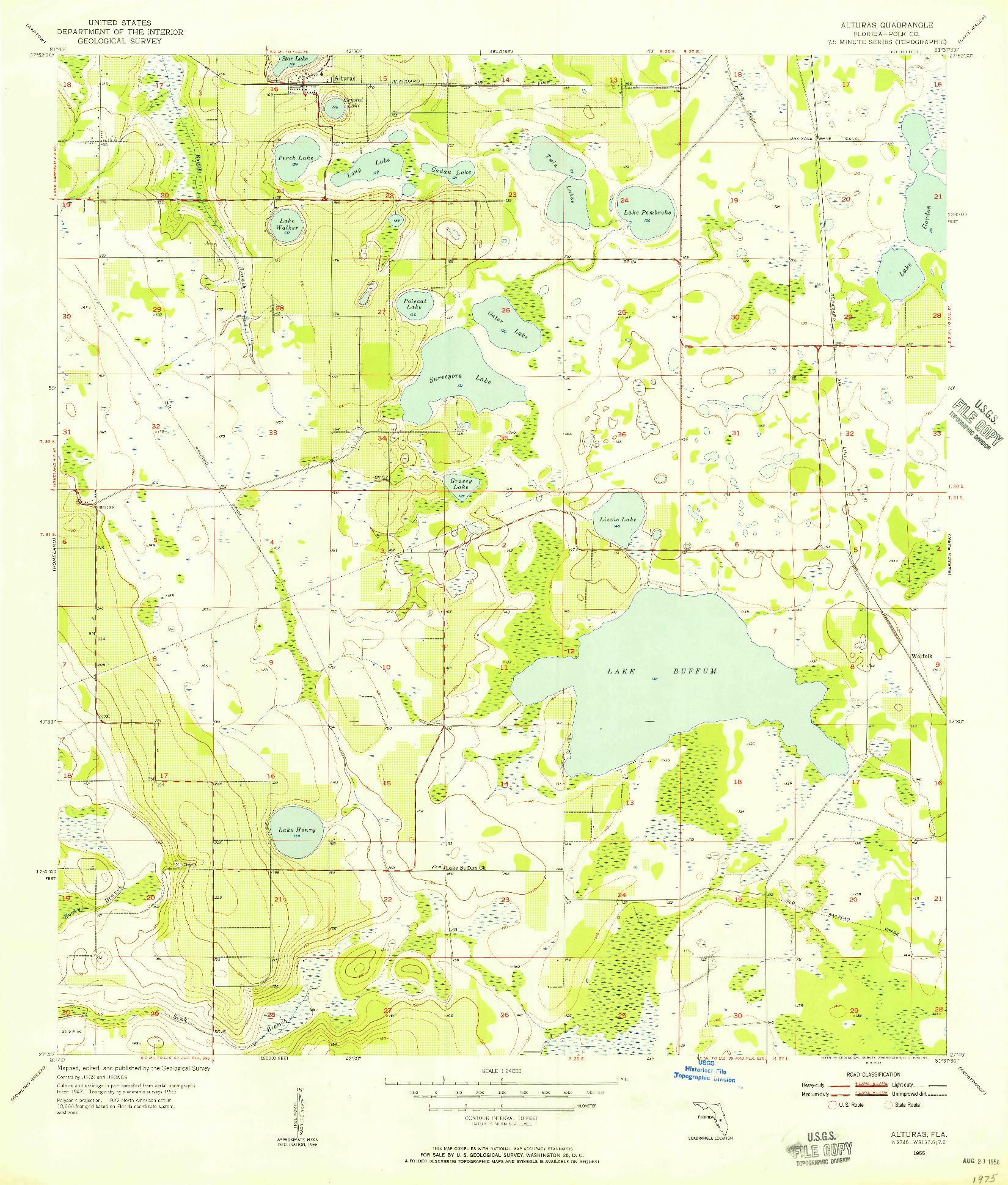 USGS 1:24000-SCALE QUADRANGLE FOR ALTURAS, FL 1955