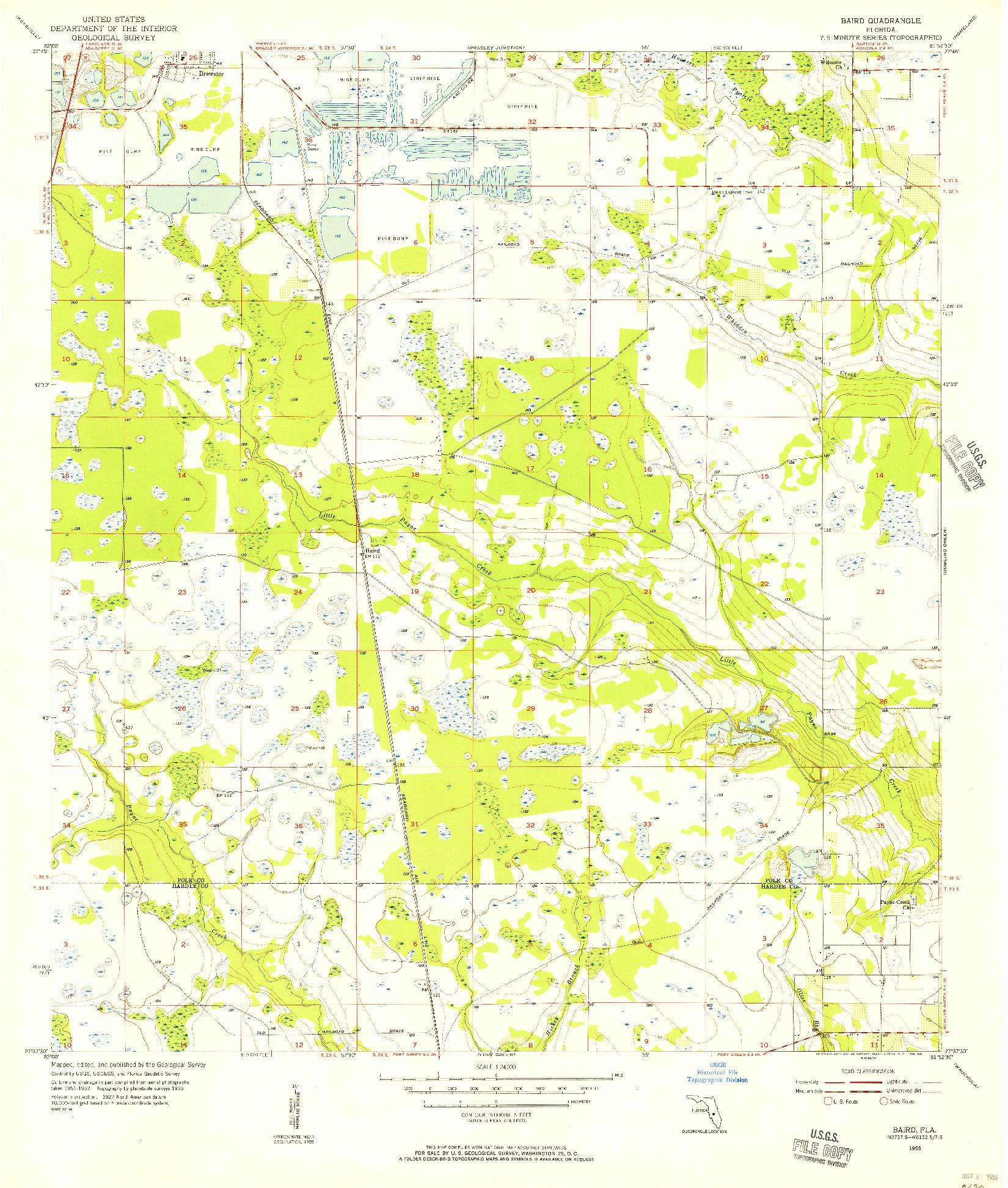 USGS 1:24000-SCALE QUADRANGLE FOR BAIRD, FL 1955