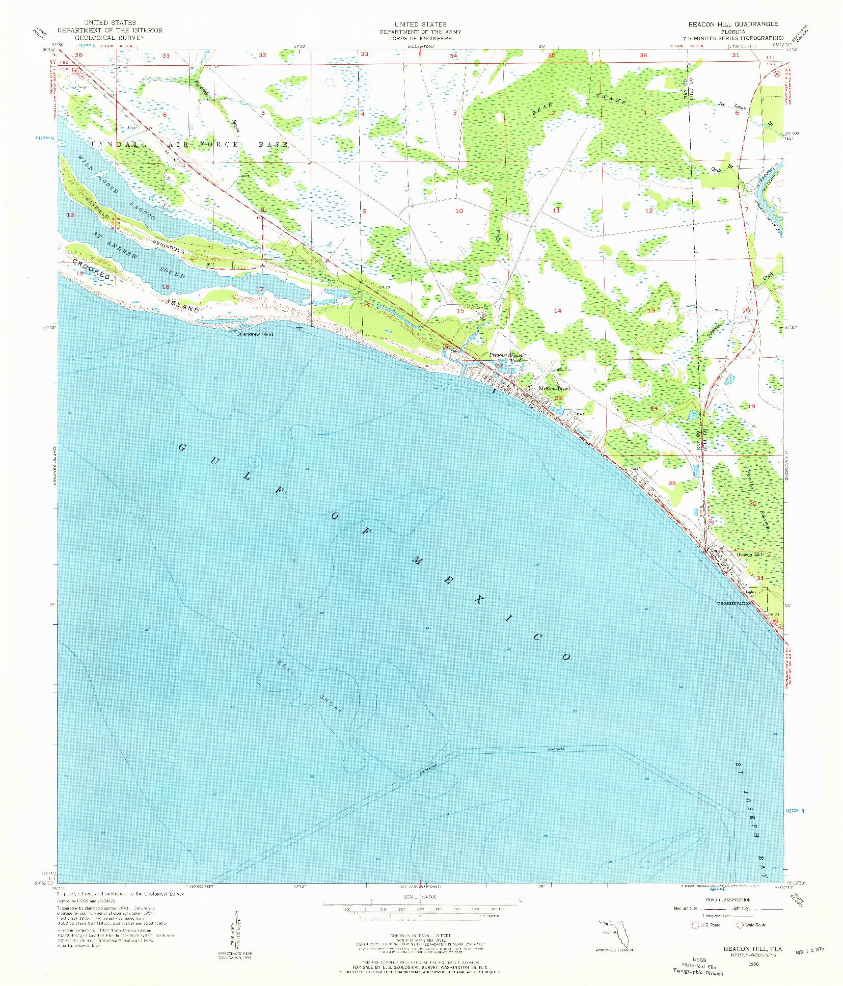 USGS 1:24000-SCALE QUADRANGLE FOR BEACON HILL, FL 1956