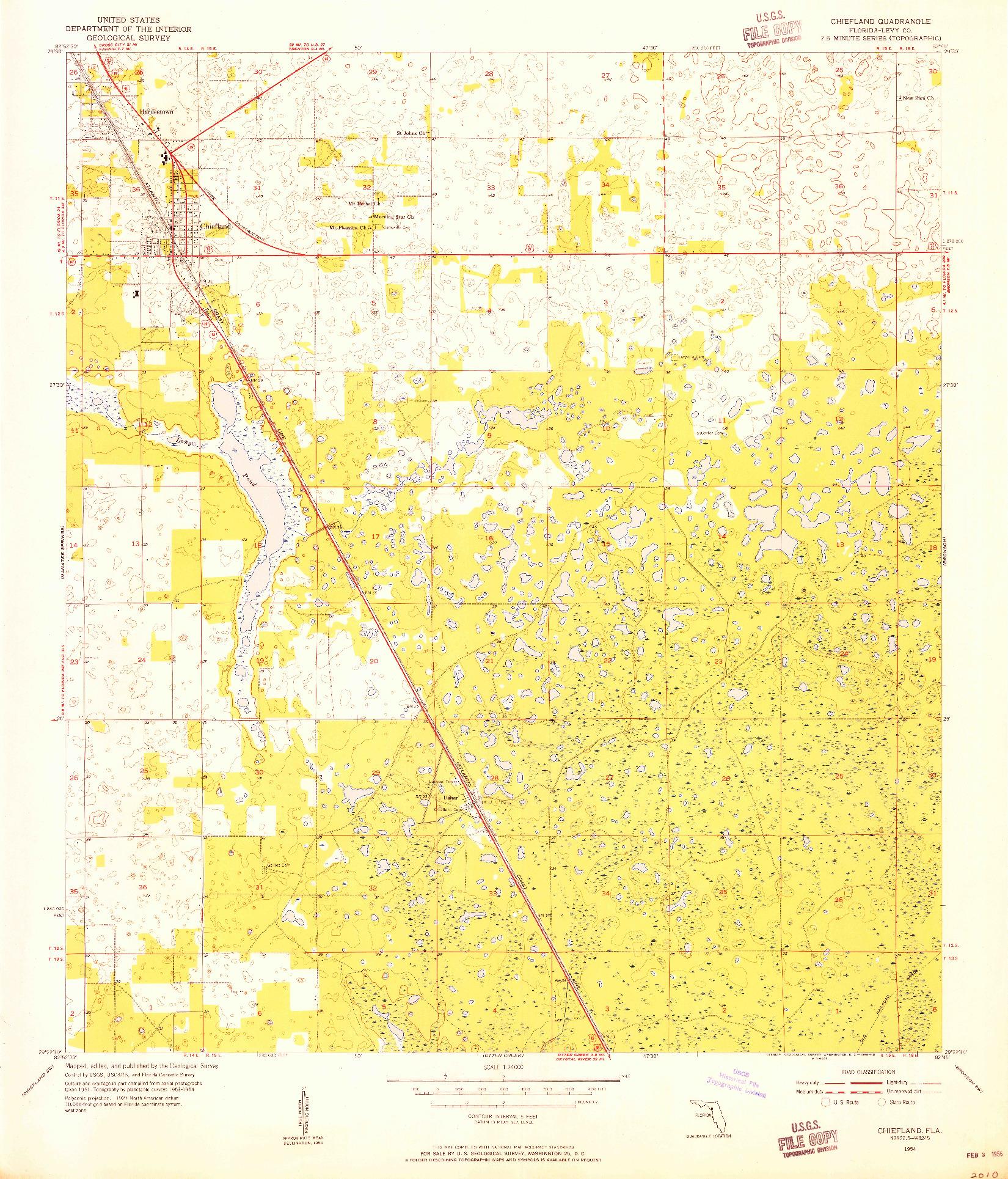 USGS 1:24000-SCALE QUADRANGLE FOR CHIEFLAND, FL 1954