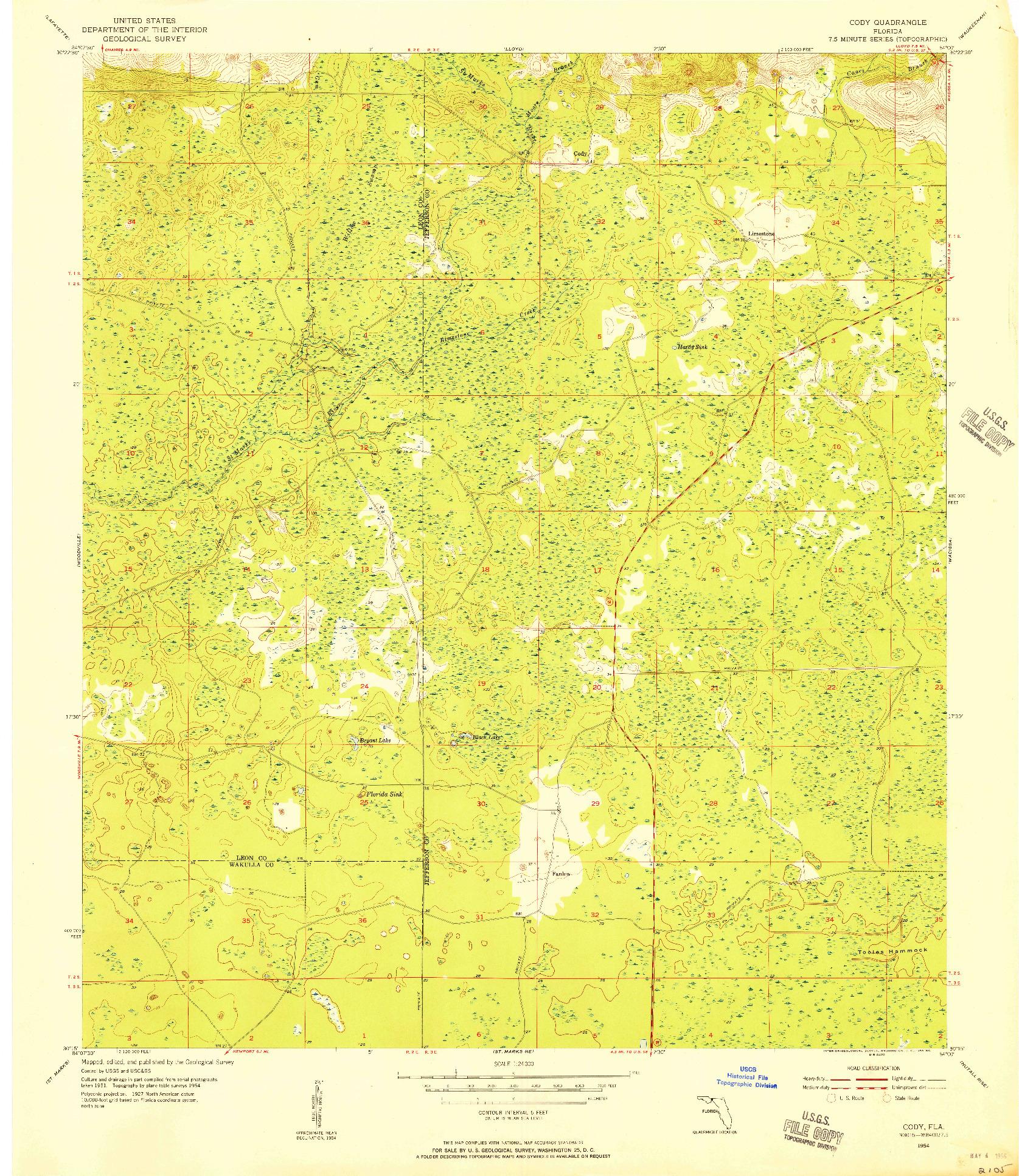 USGS 1:24000-SCALE QUADRANGLE FOR CODY, FL 1954