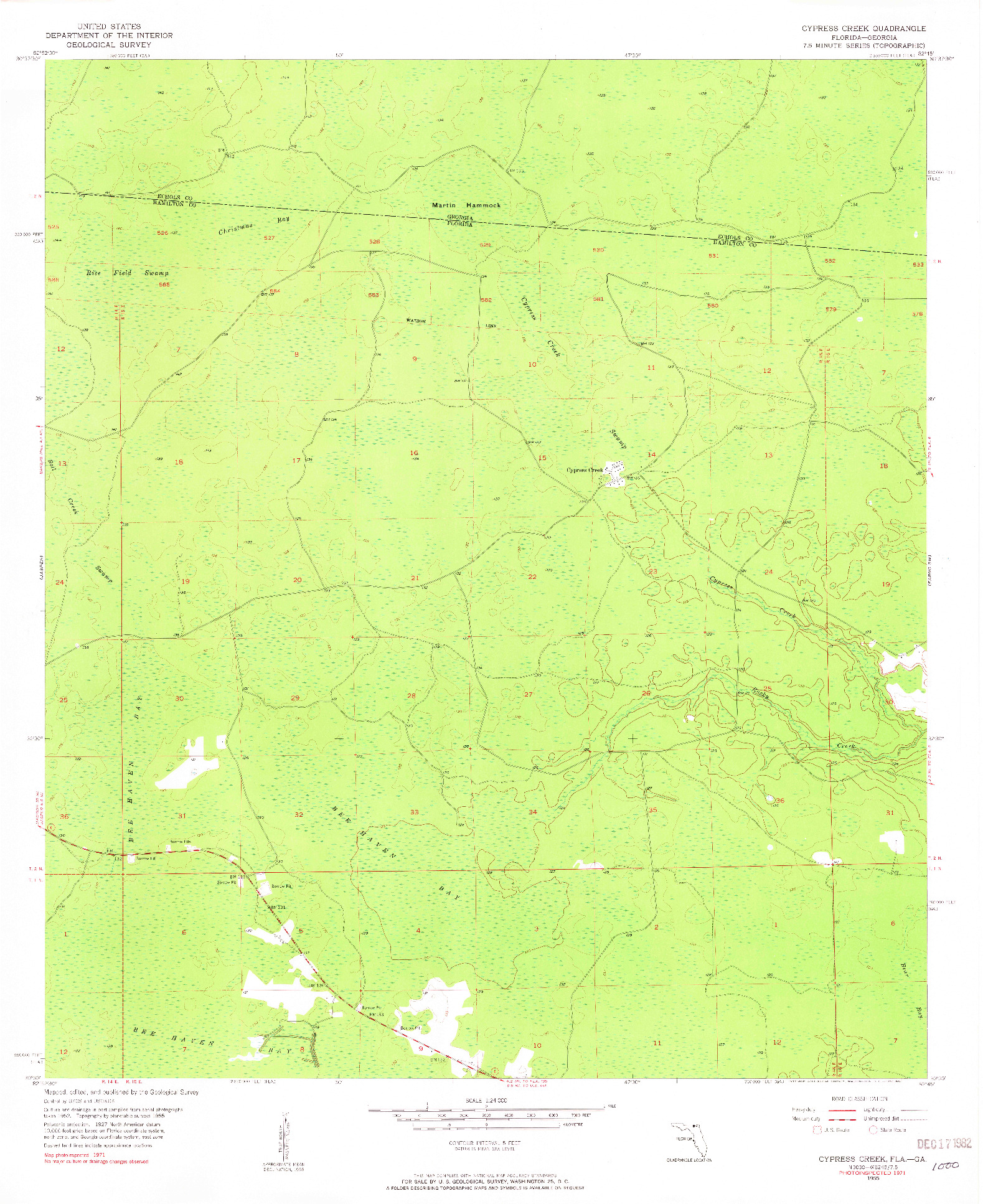 USGS 1:24000-SCALE QUADRANGLE FOR CYPRESS CREEK, FL 1955