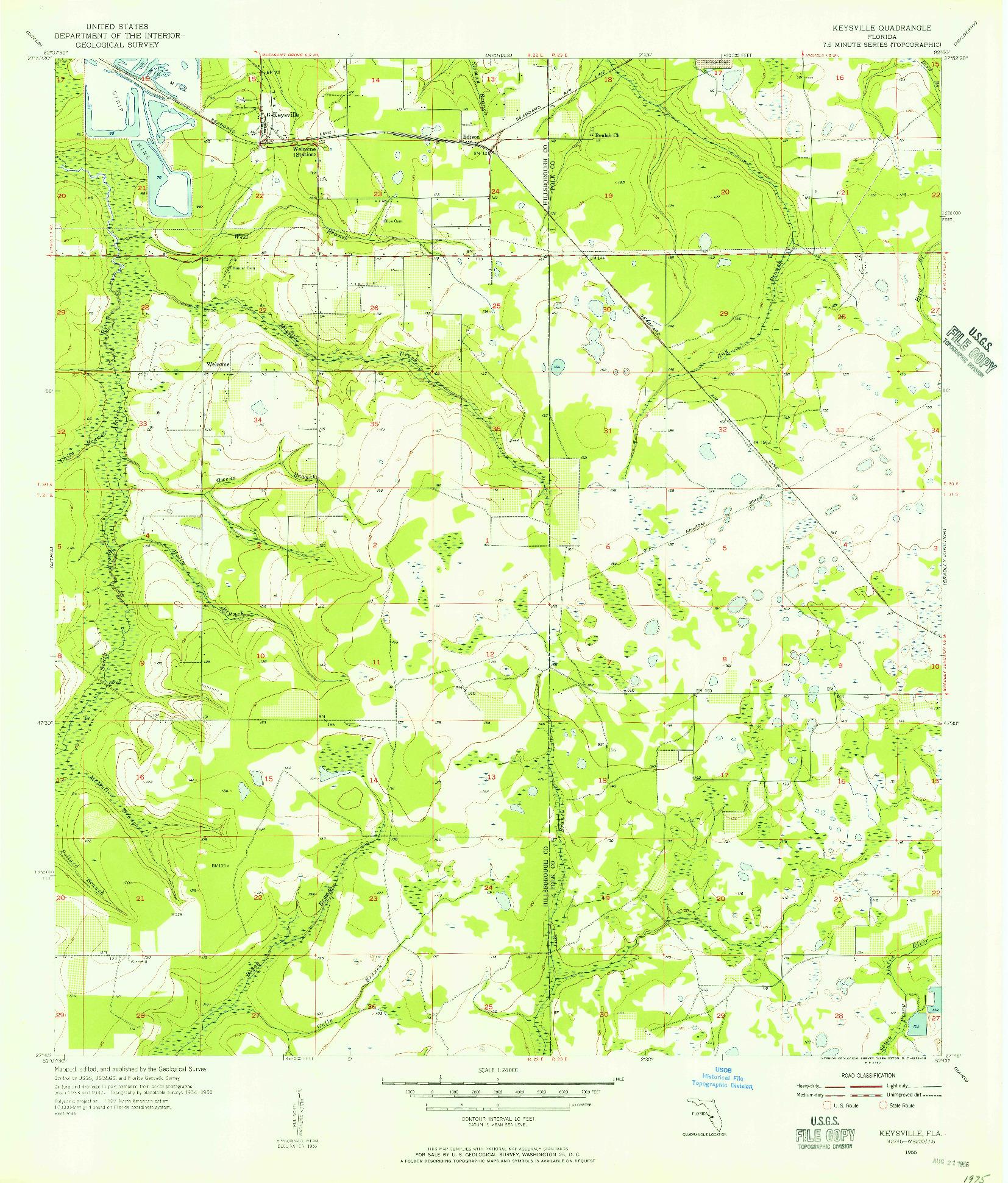 USGS 1:24000-SCALE QUADRANGLE FOR KEYSVILLE, FL 1955