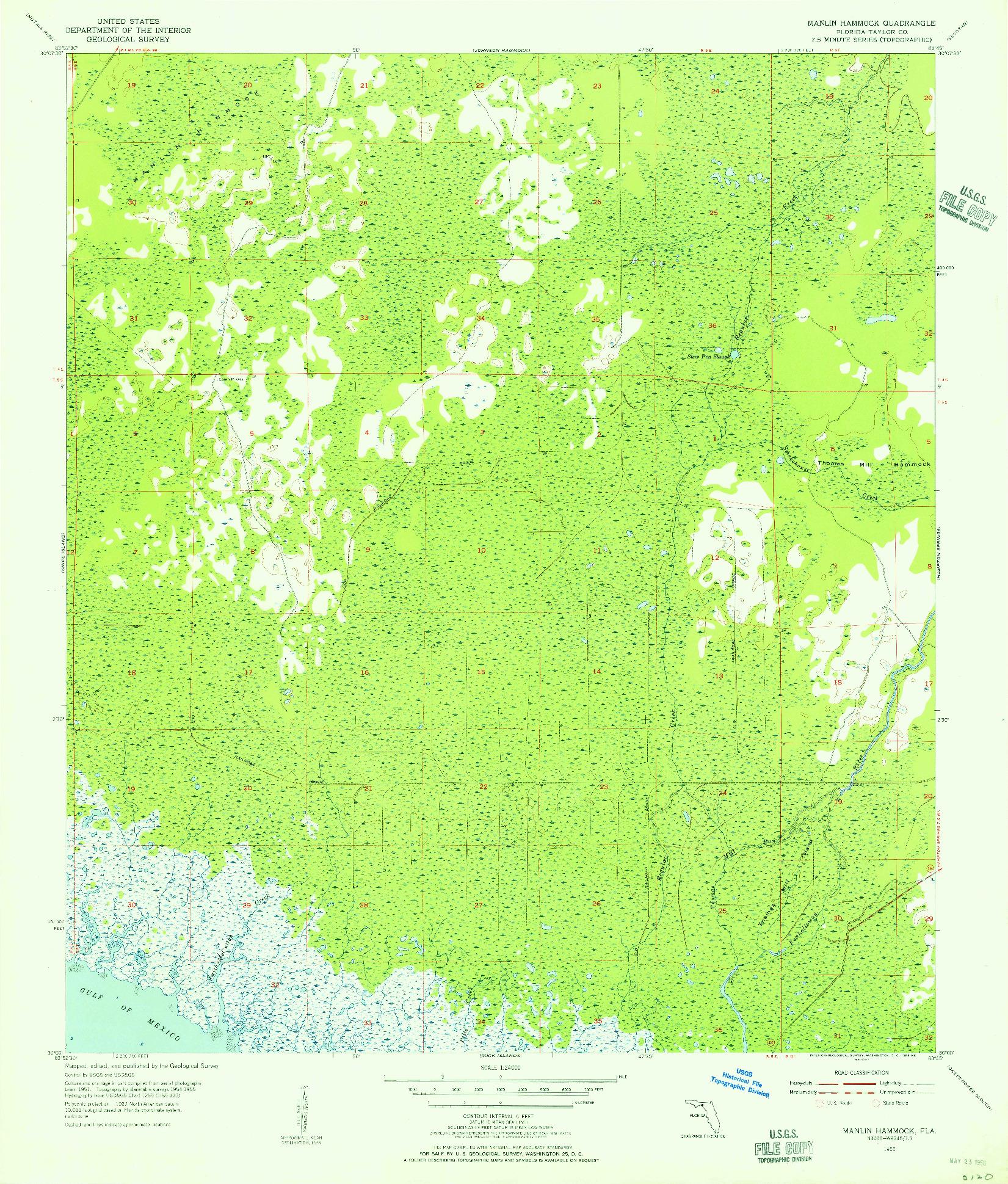 USGS 1:24000-SCALE QUADRANGLE FOR MANLIN HAMMOCK, FL 1955